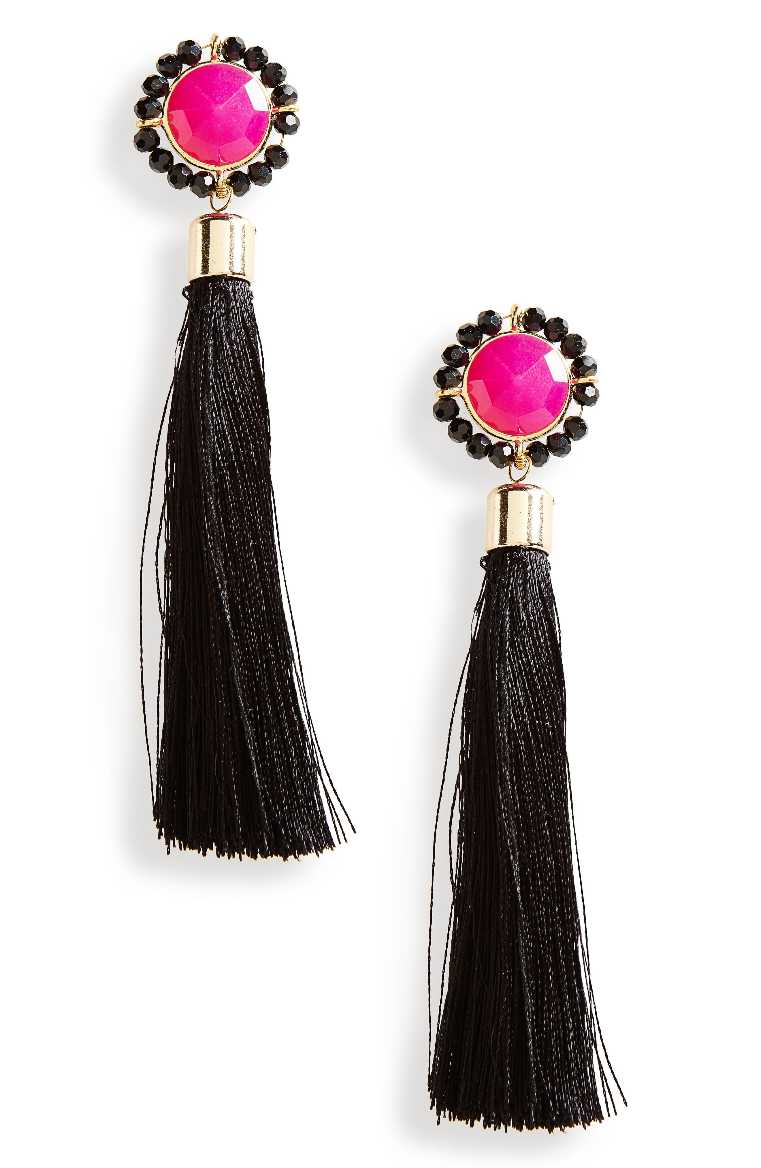 Tassel Drop Earrings,                         Main,                         color, 001