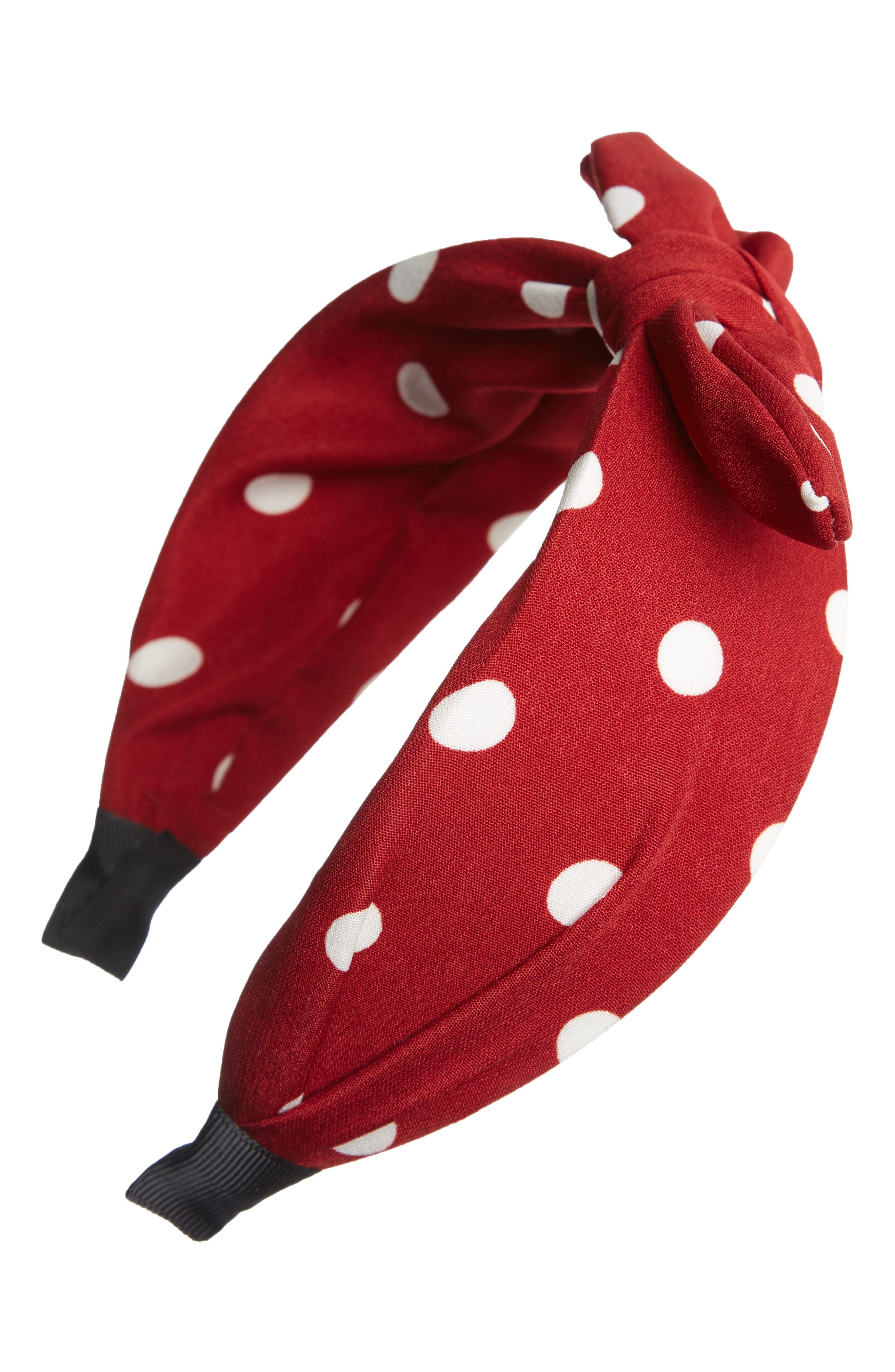 1940s Hairstyles- History of Women's Hairstyles Tasha Polka Dot Bow Headband Size One Size - Red $24.00 AT vintagedancer.com