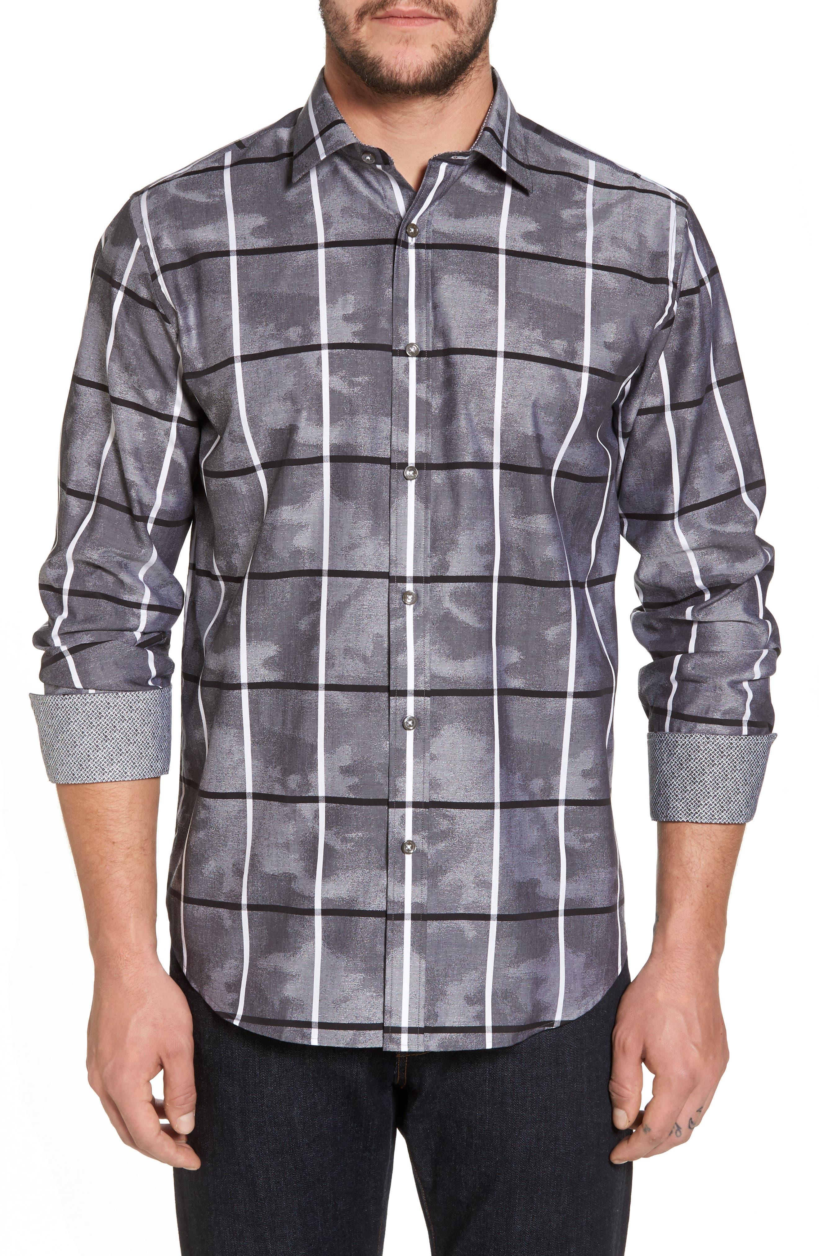 Regular Fit Camo Grid Sport Shirt,                             Main thumbnail 1, color,                             020