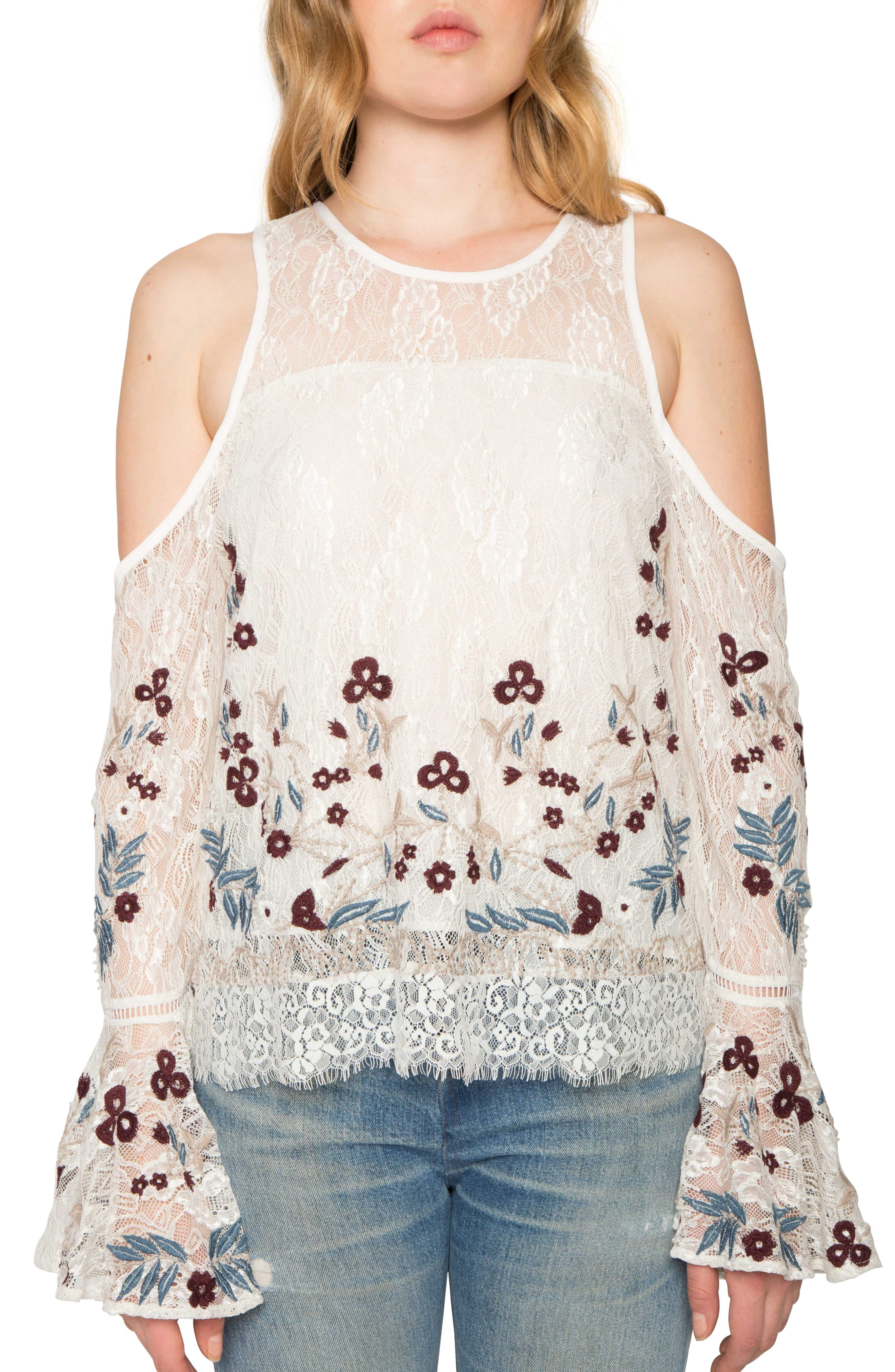 Cold Shoulder Bell Sleeve Top,                             Main thumbnail 1, color,                             903