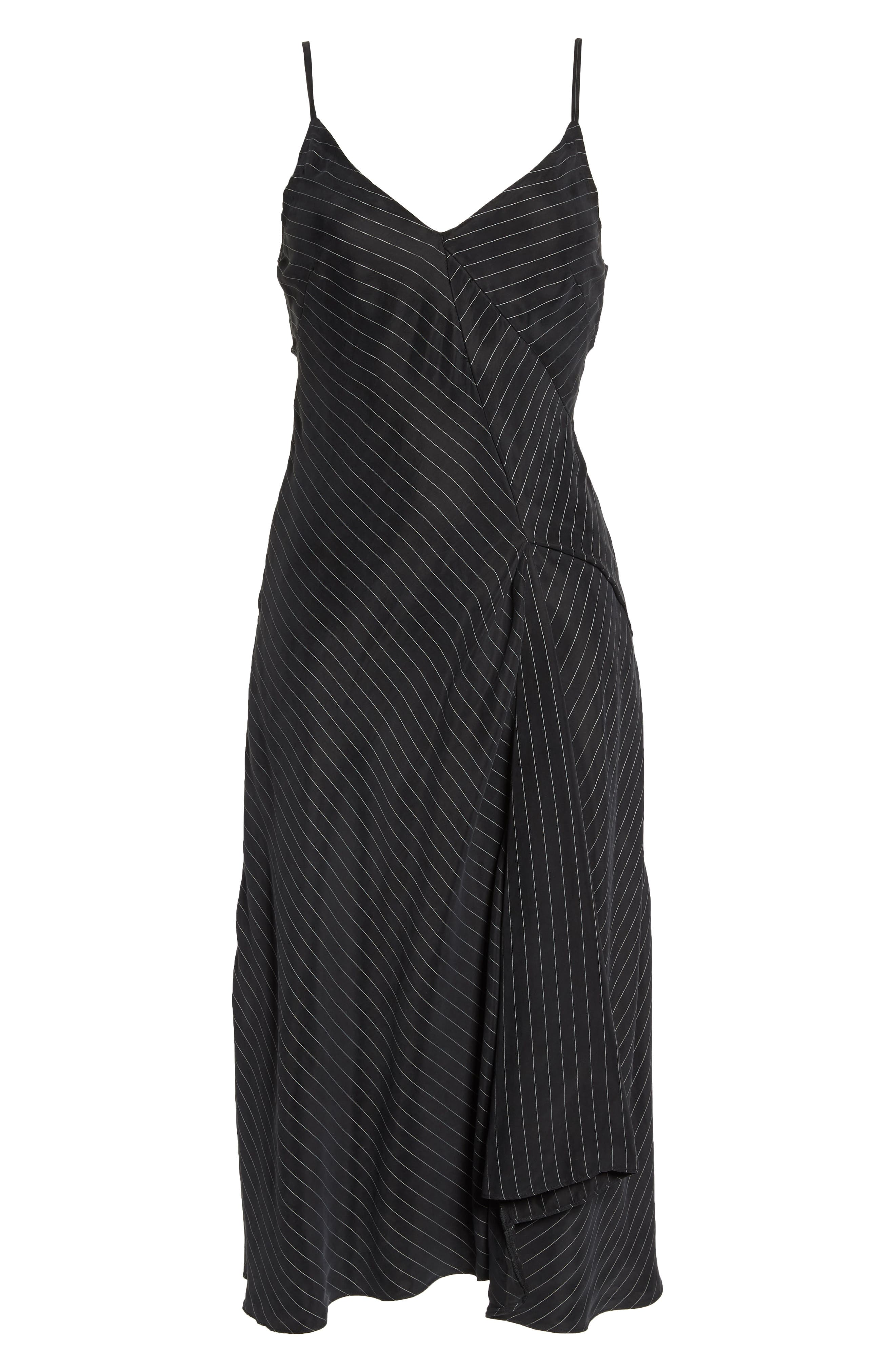 Bay Area Sleeveless Pinstripe Midi Dress,                             Alternate thumbnail 7, color,                             001