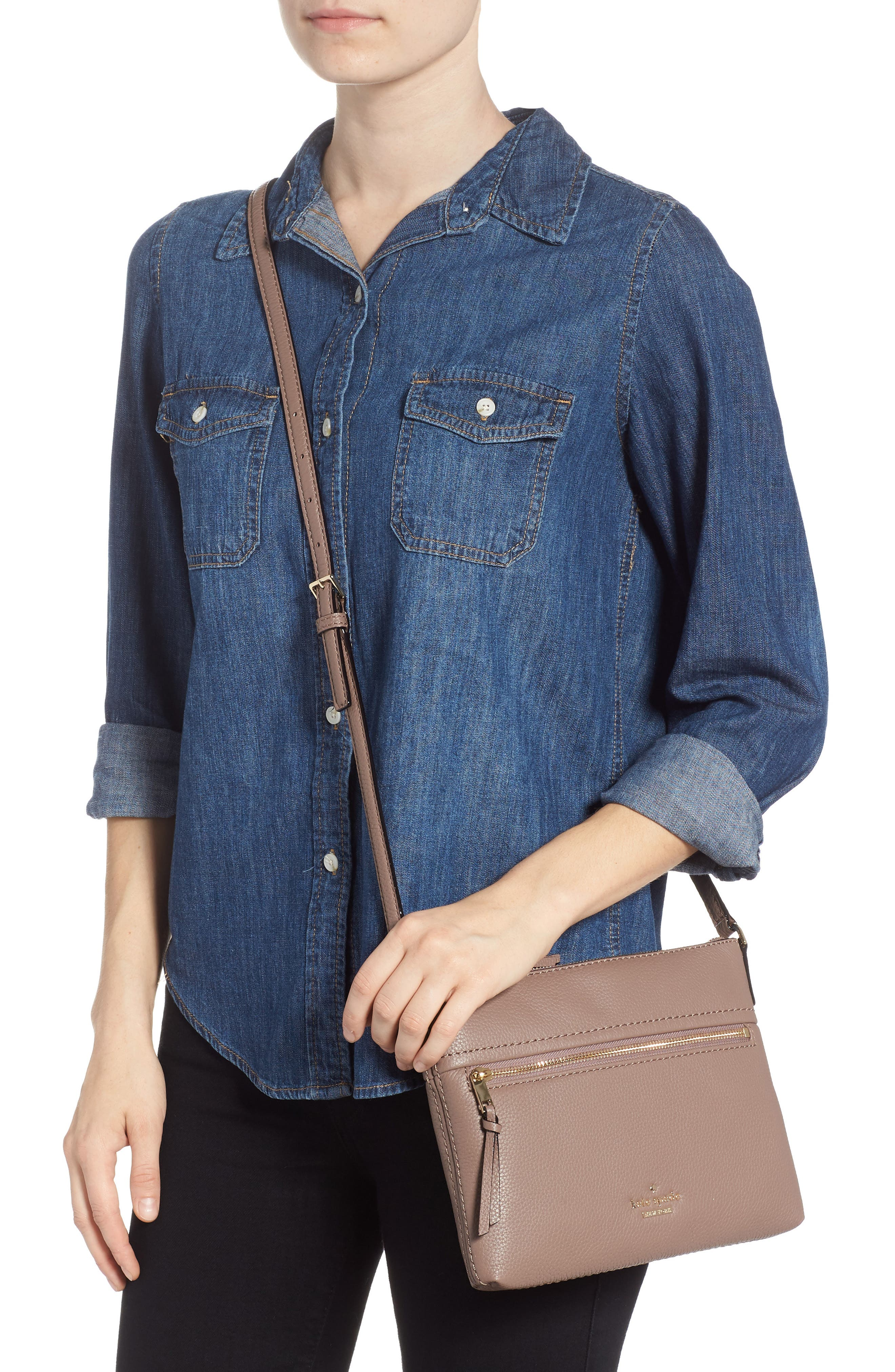 jackson street - gabriele leather crossbody bag,                             Alternate thumbnail 2, color,                             BROWNSTONE