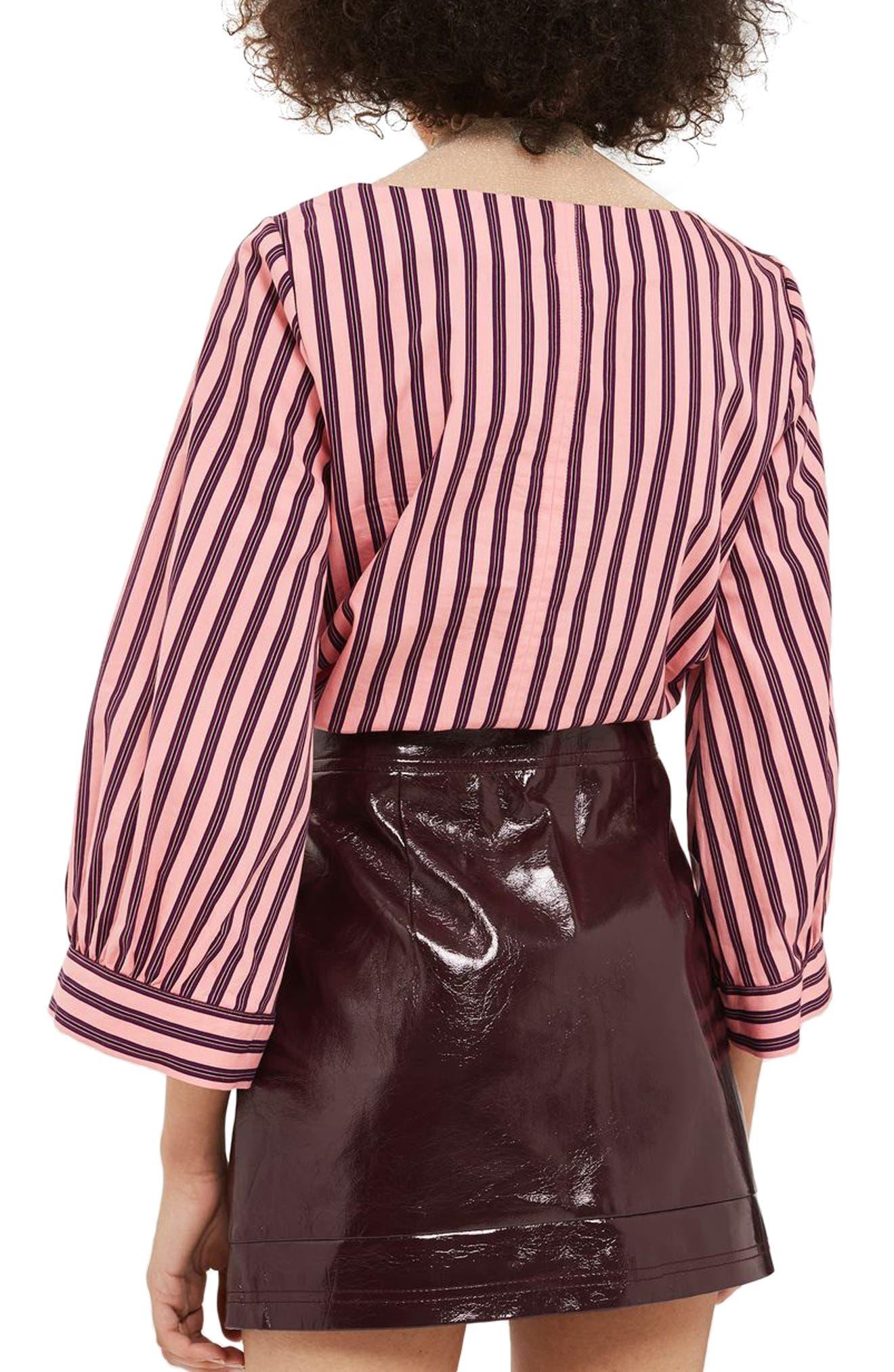 Zip Through Cracked Vinyl Miniskirt,                             Alternate thumbnail 6, color,