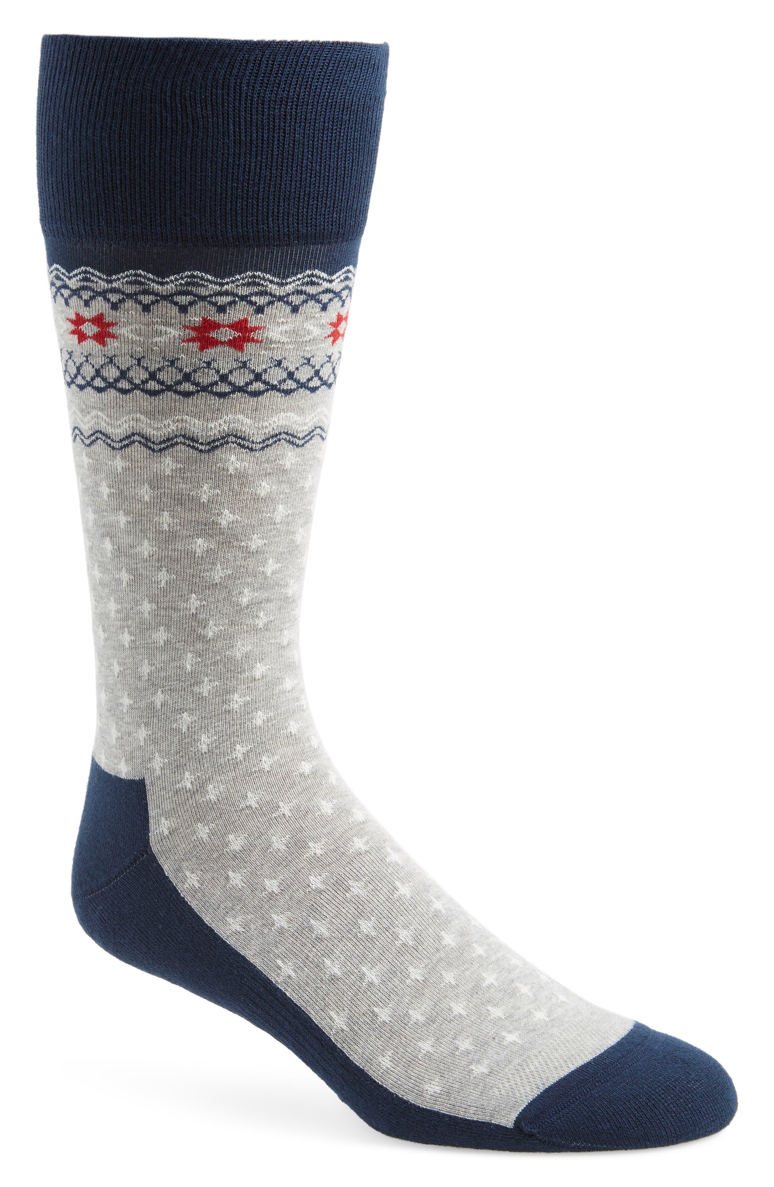 Holiday Fair Isle Socks,                         Main,                         color, GREY/ NAVY