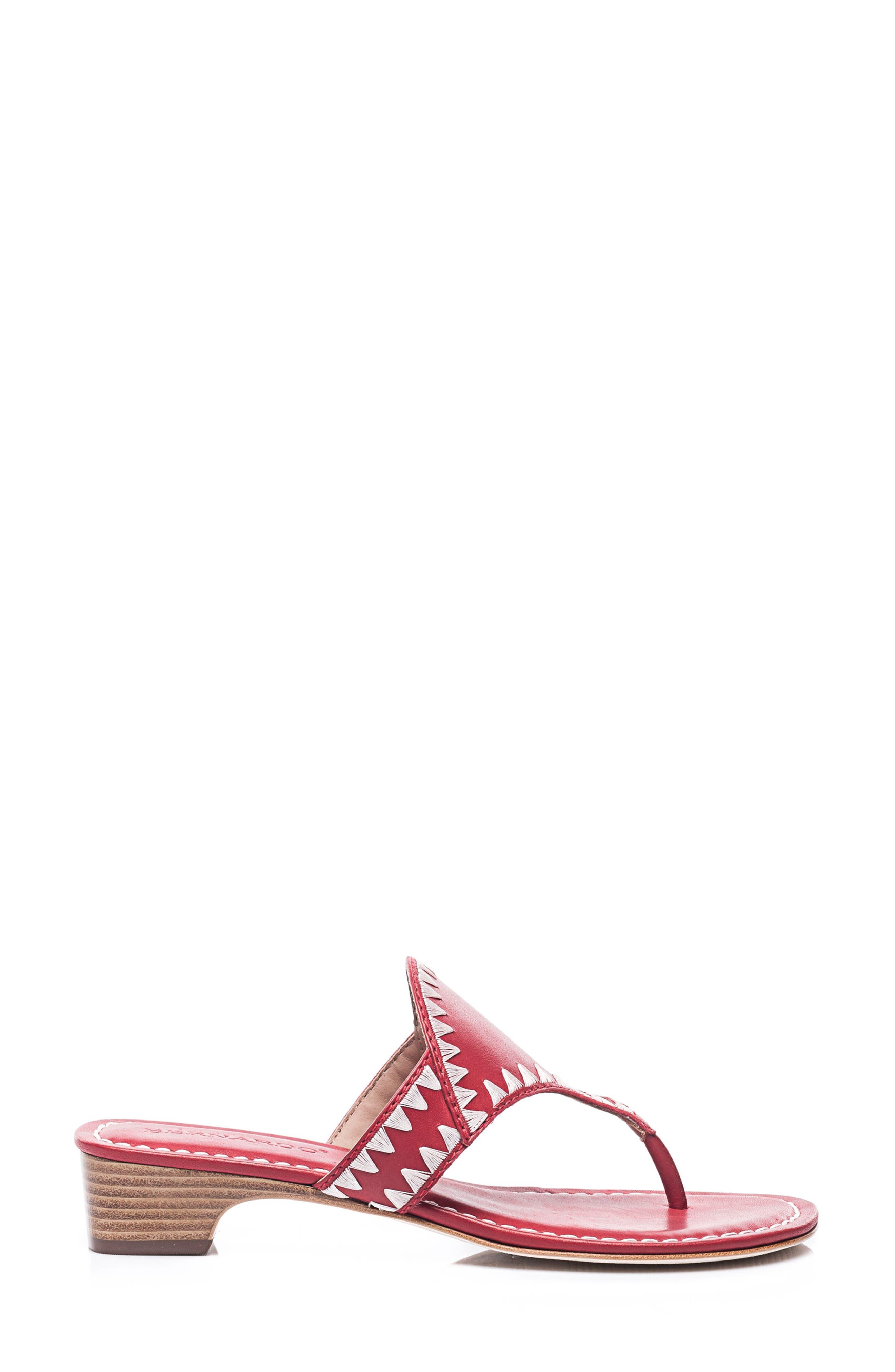 Bernardo Gabi Embroidered Sandal,                             Alternate thumbnail 3, color,                             RED LEATHER