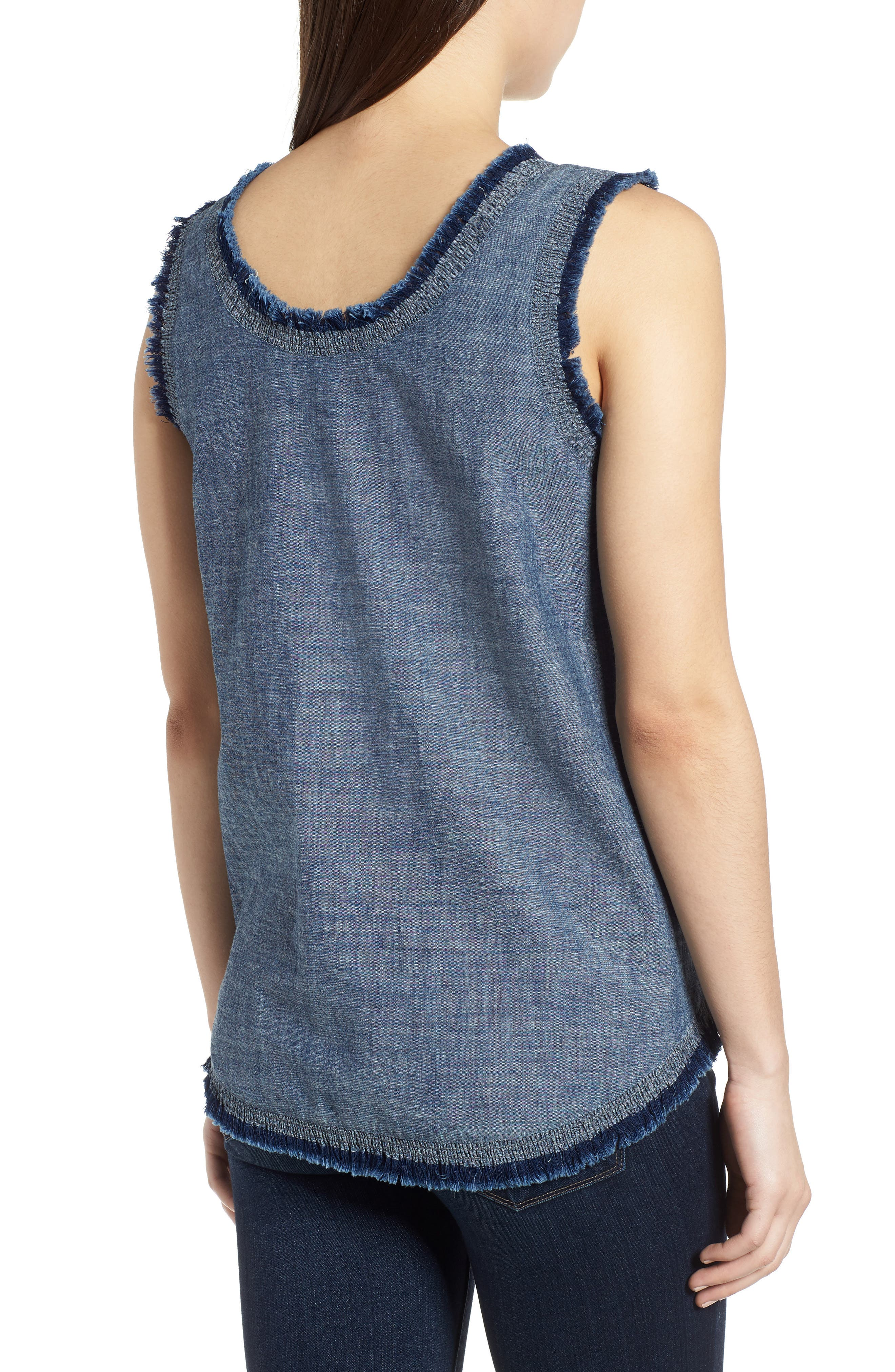 Frayed Chambray Tank,                             Alternate thumbnail 2, color,                             TEXTURED NAVY