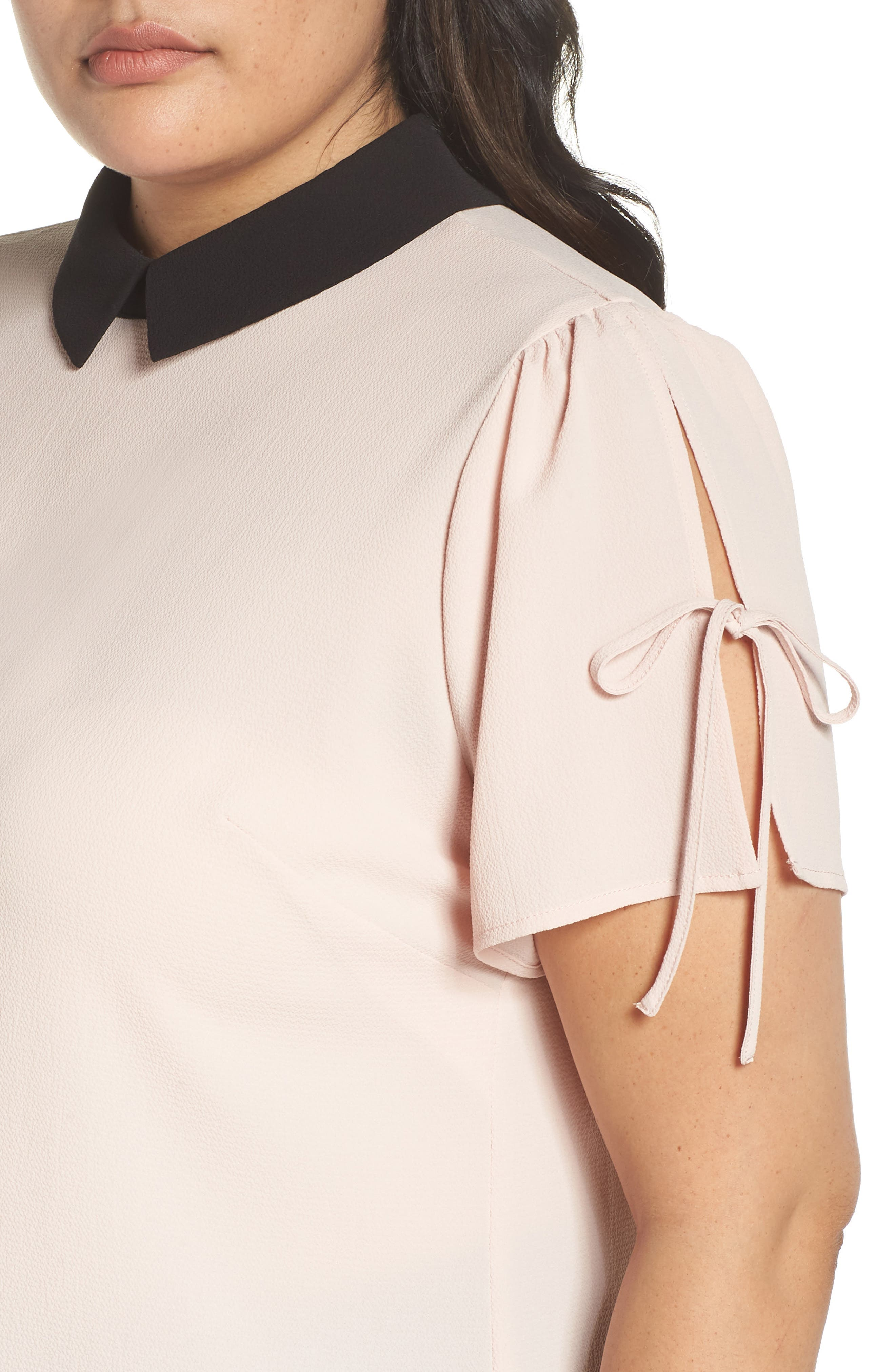 Contrast Collar Tie Sleeve Top,                             Alternate thumbnail 4, color,                             FADED PINK