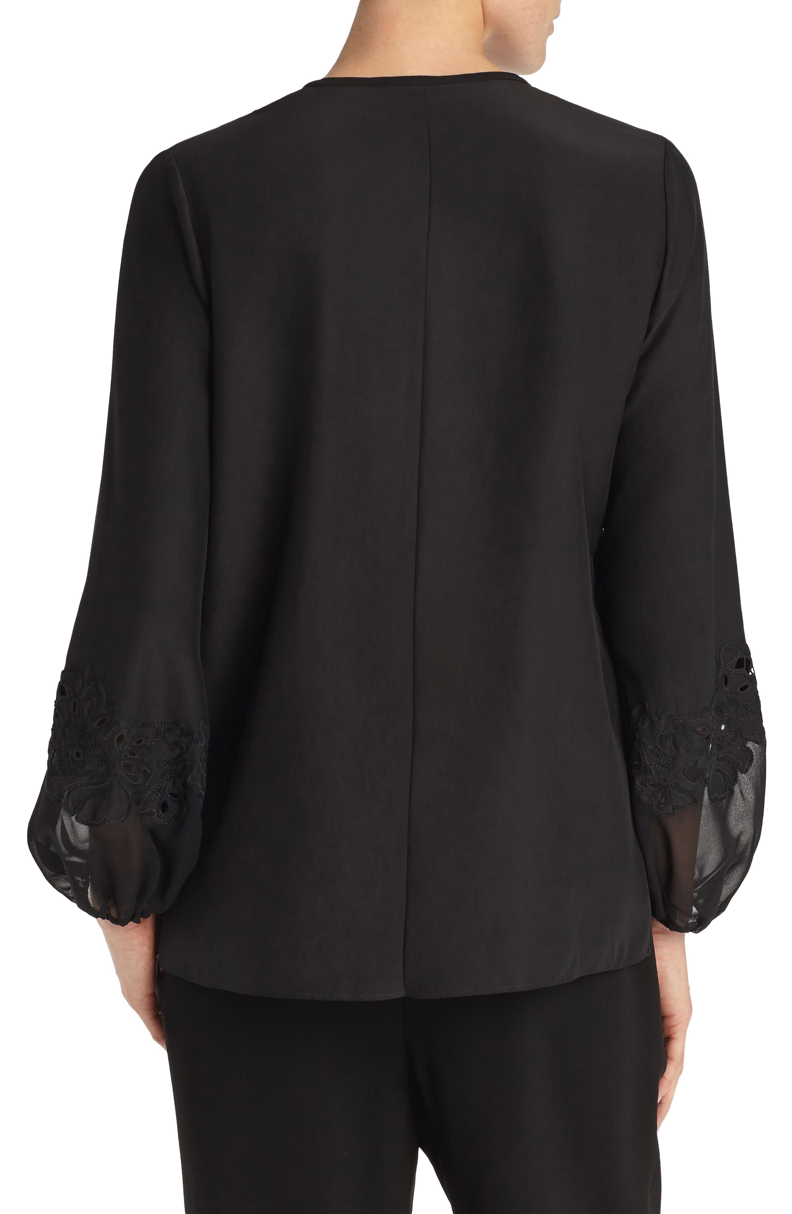 Eli Embroidered Cuff Silk Blouse,                             Alternate thumbnail 2, color,                             001