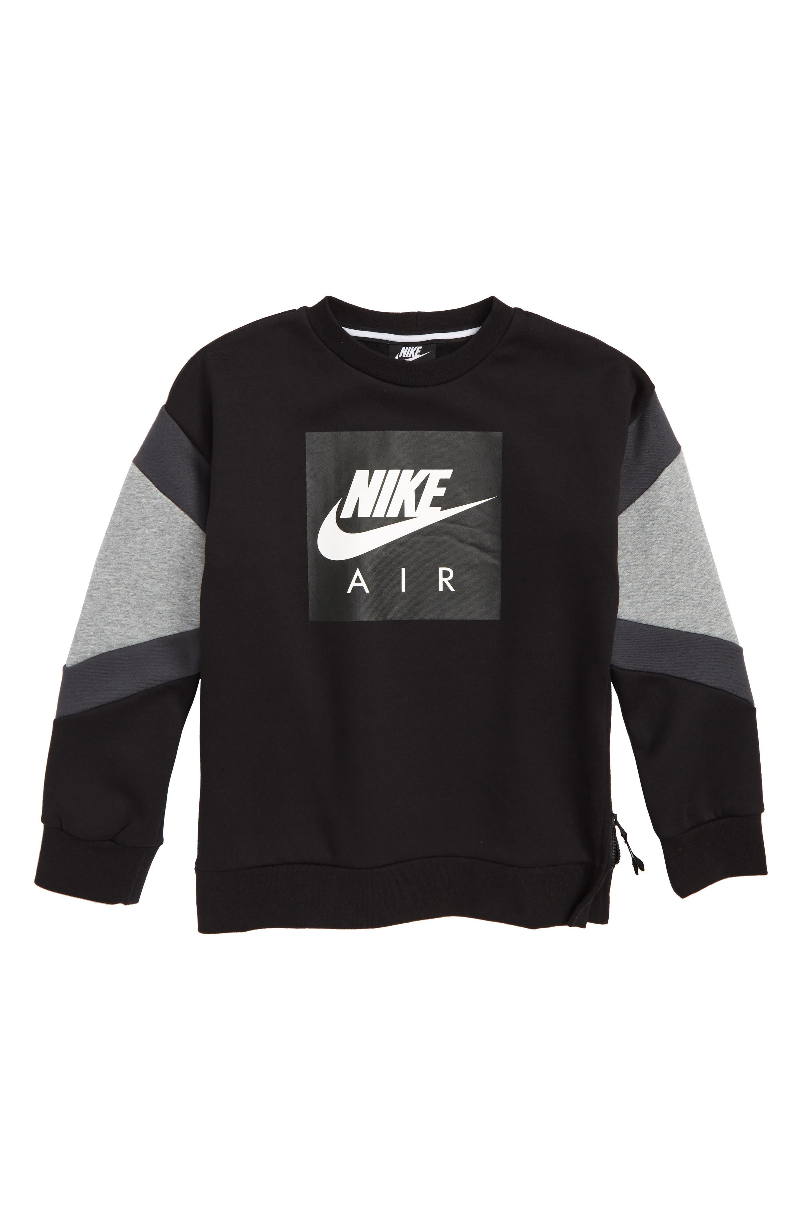Air Sweatshirt,                         Main,                         color, BLACK/ DARK GREY HEATHER