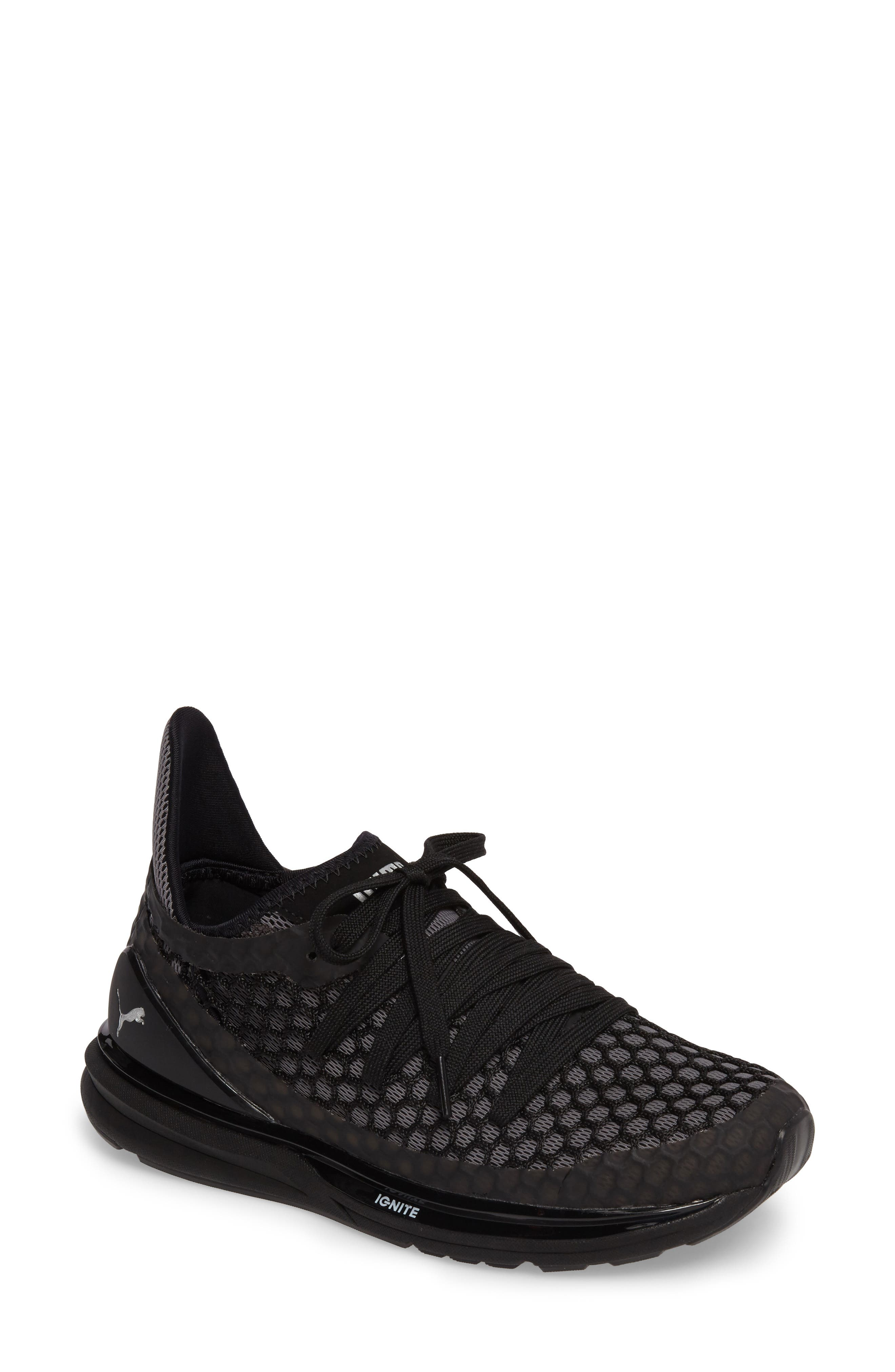 PUMA,                             Ignite Limitless Netfit Running Shoe,                             Main thumbnail 1, color,                             001