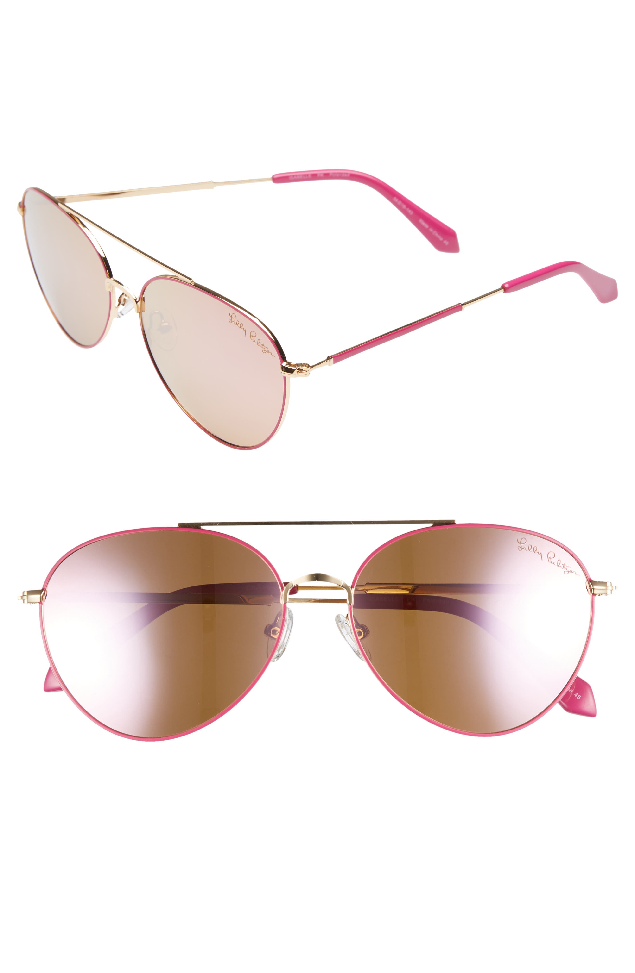 Isabelle 56mm Polarized Metal Aviator Sunglasses,                         Main,                         color, PINK/ PINK