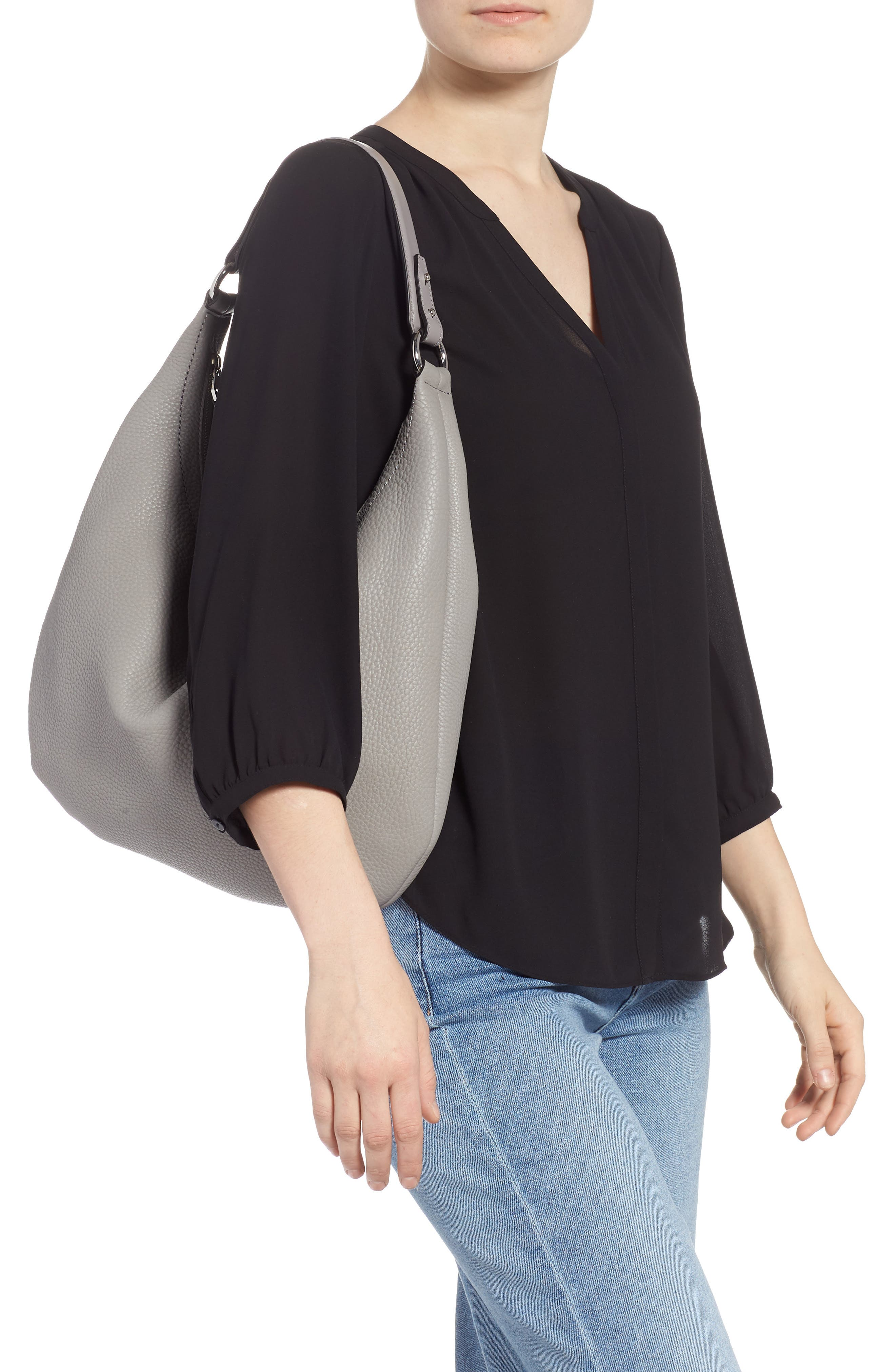 Michelle Leather Hobo,                             Alternate thumbnail 2, color,                             GREY