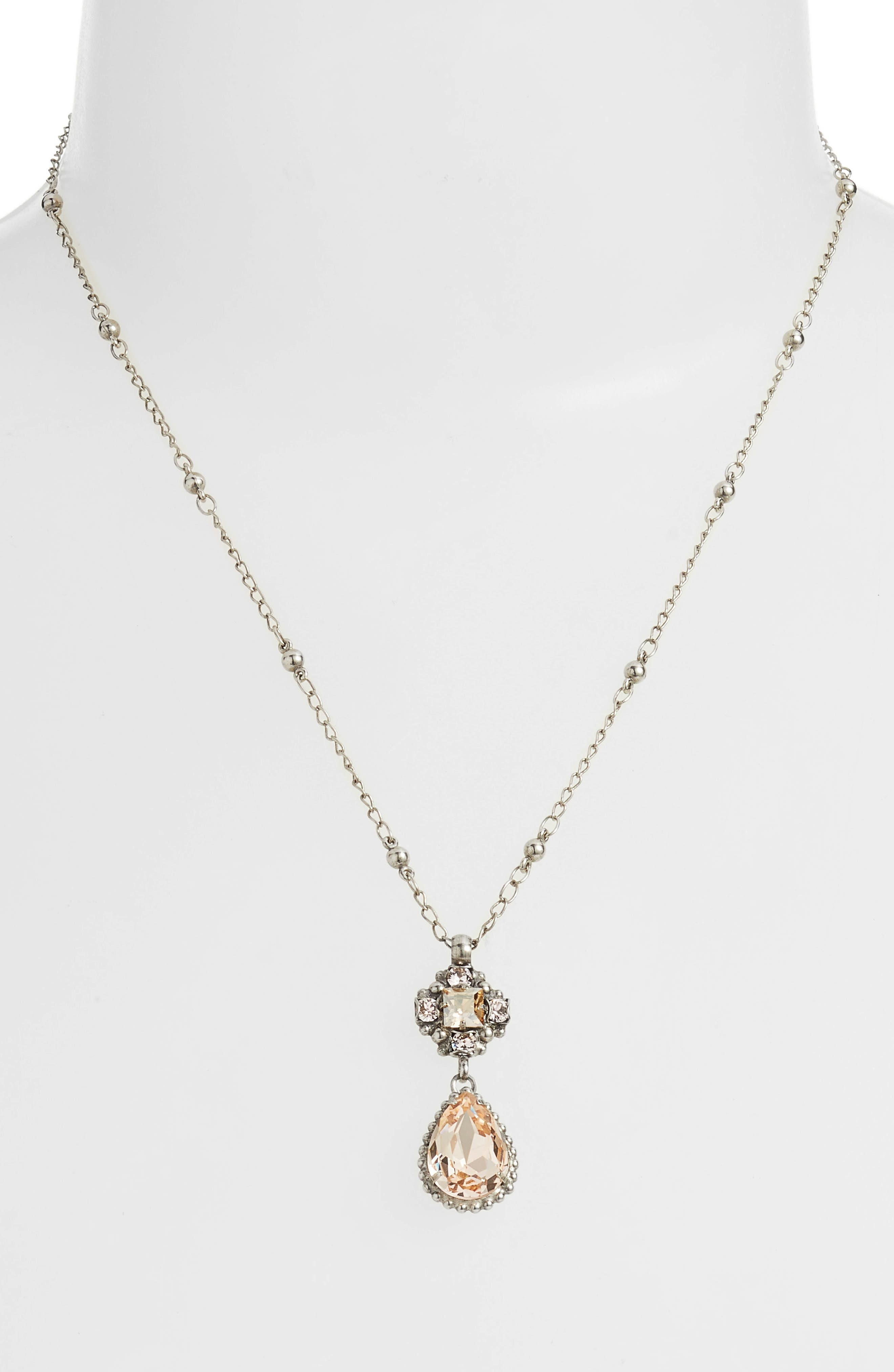 Posey Crystal Pendant Necklace,                             Alternate thumbnail 2, color,                             PINK