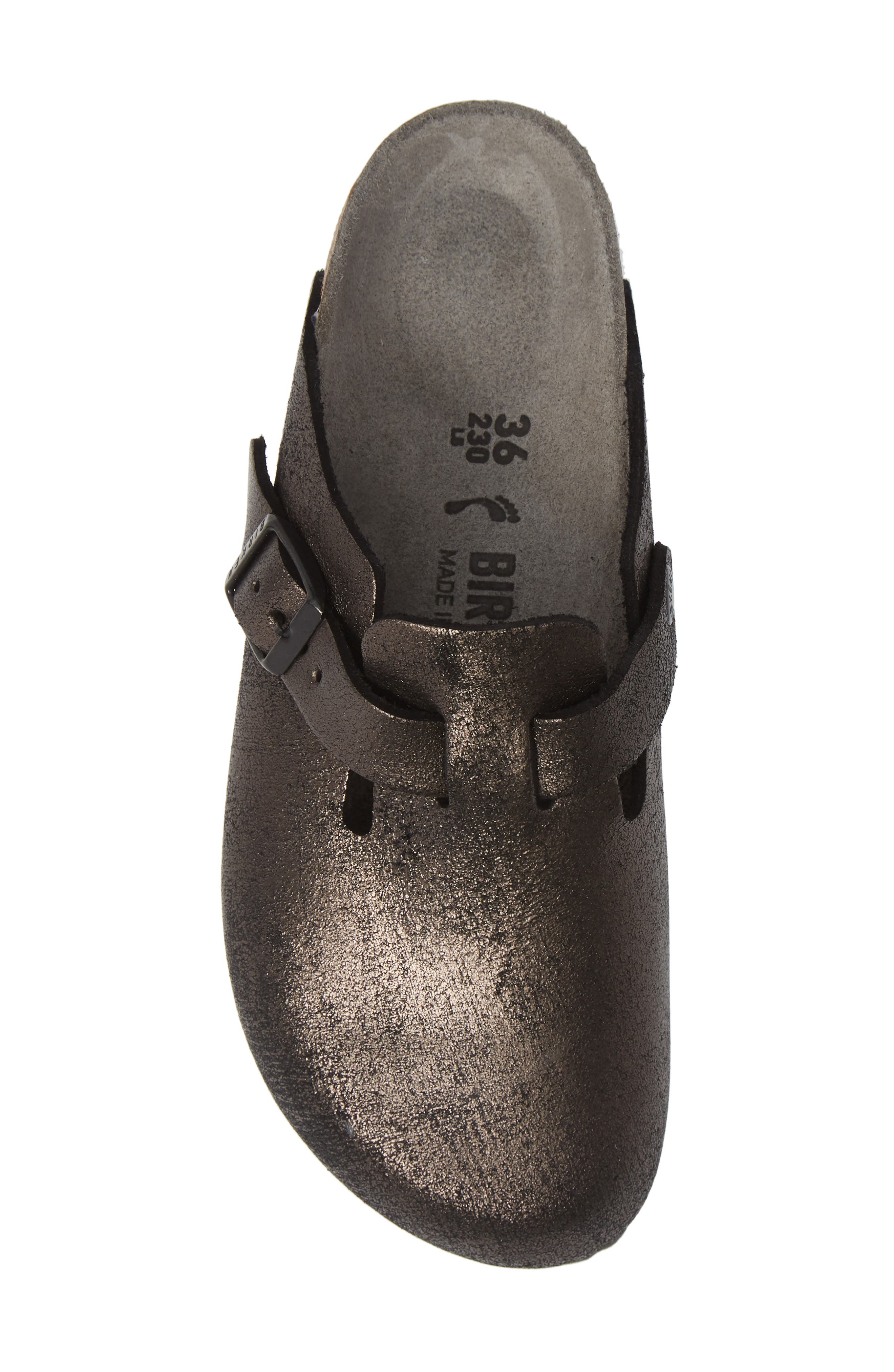 Boston Soft Footbed Clog,                             Alternate thumbnail 5, color,                             METALLIC ANTIQUE BLACK LEATHER