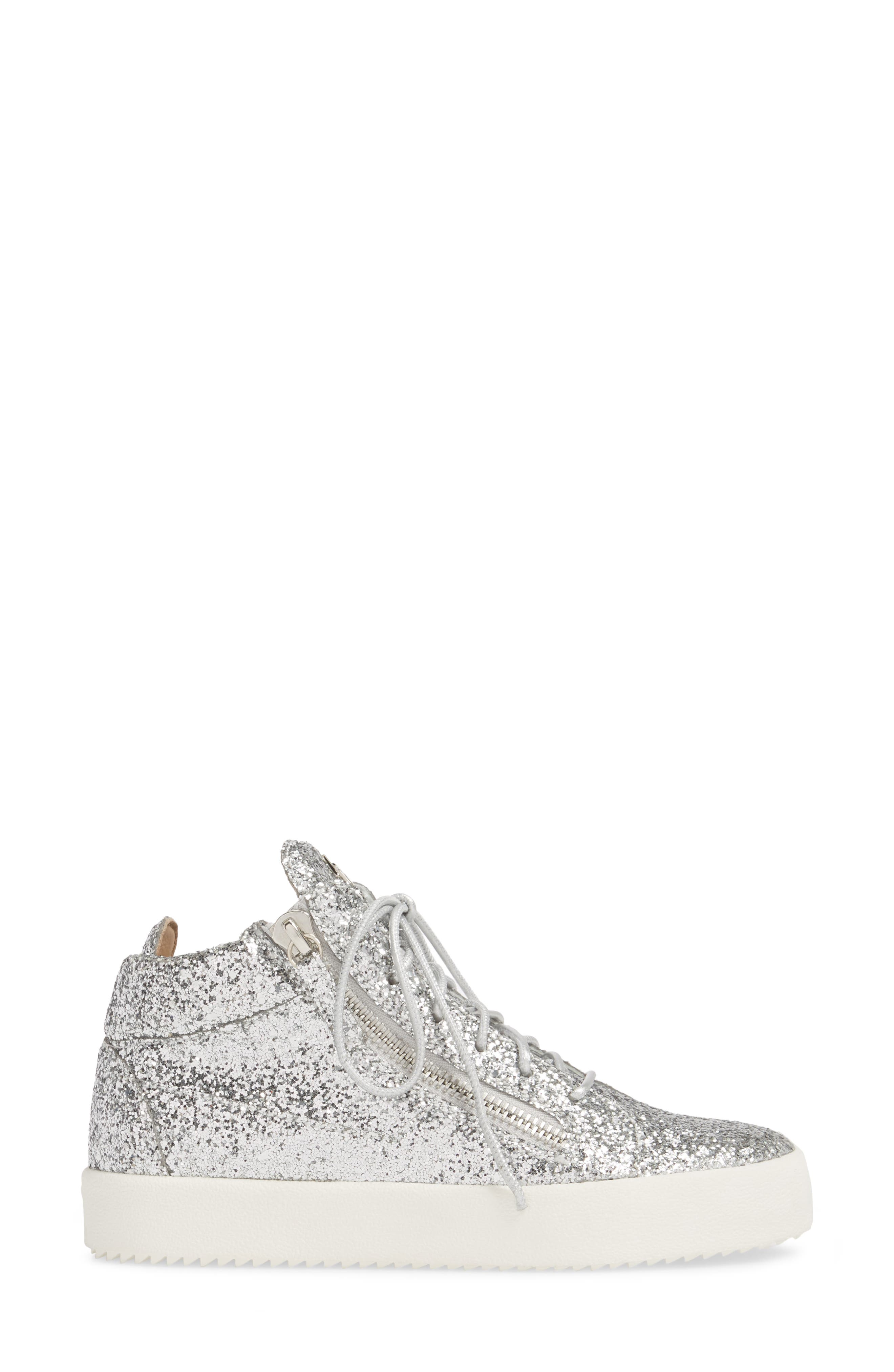 May London High Top Sneaker,                             Alternate thumbnail 3, color,                             SILVER
