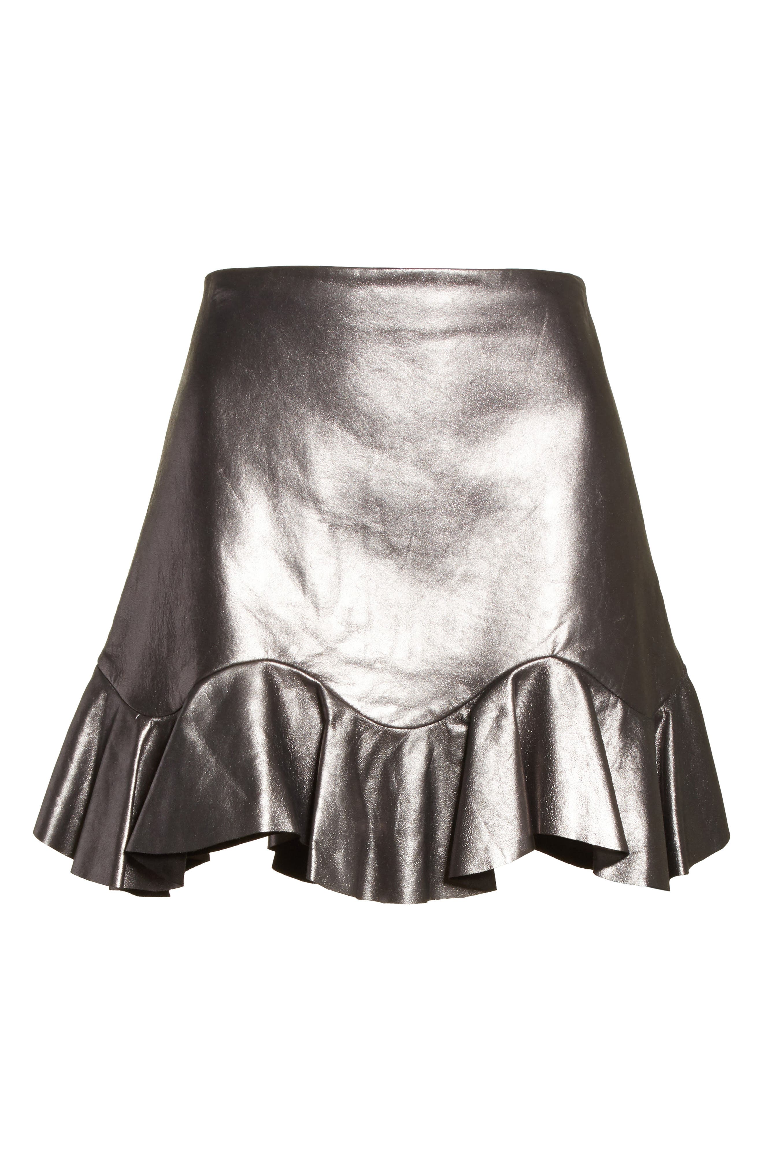 Metallic Leather Miniskirt,                             Alternate thumbnail 6, color,                             093