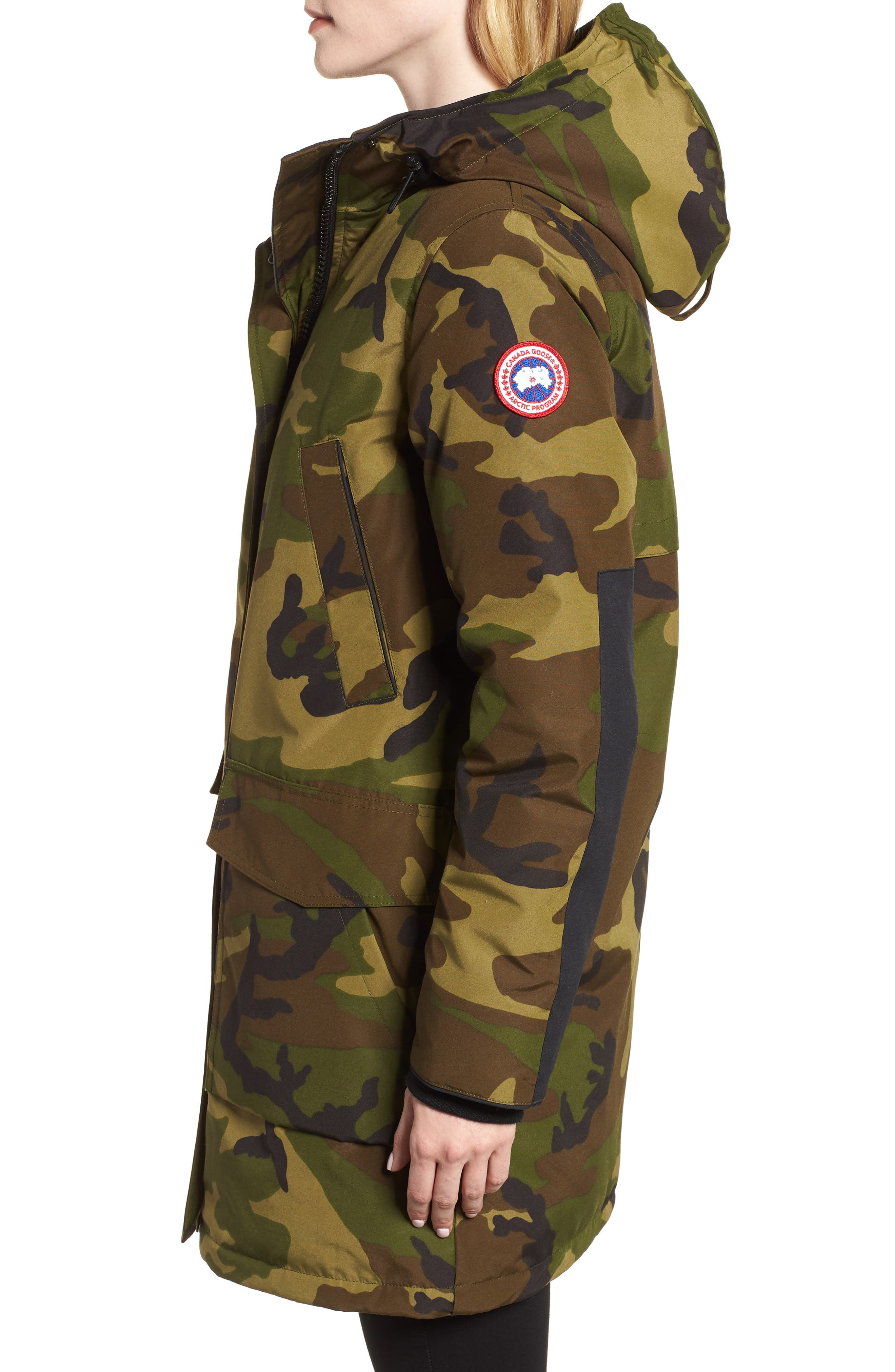 Canmore 625 Fill Power Down Parka,                             Alternate thumbnail 3, color,                             CLASSIC CAMO