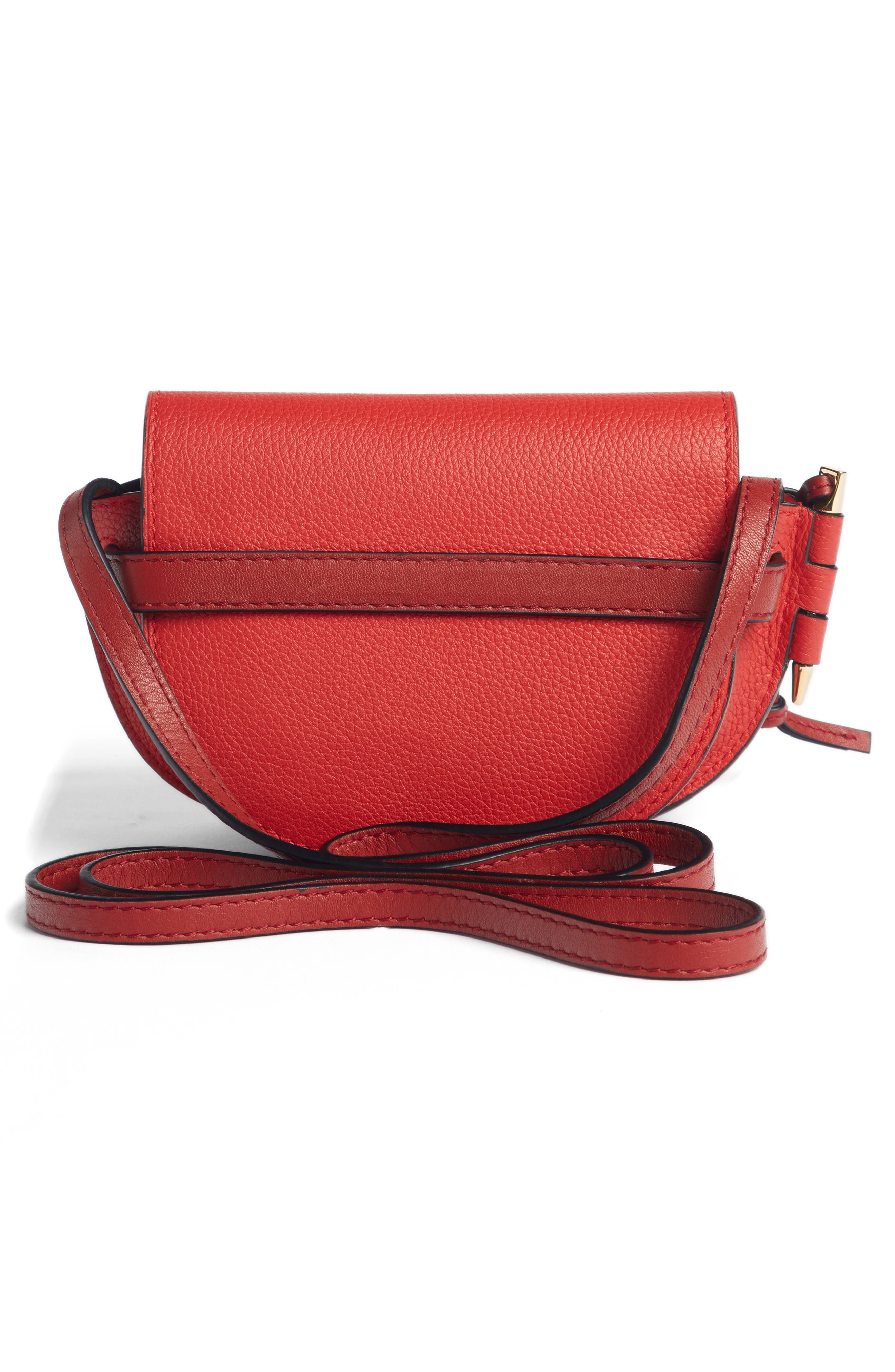 Small Gate Leather Crossbody Bag,                             Alternate thumbnail 3, color,                             SCARLET RED/ BURNT RED