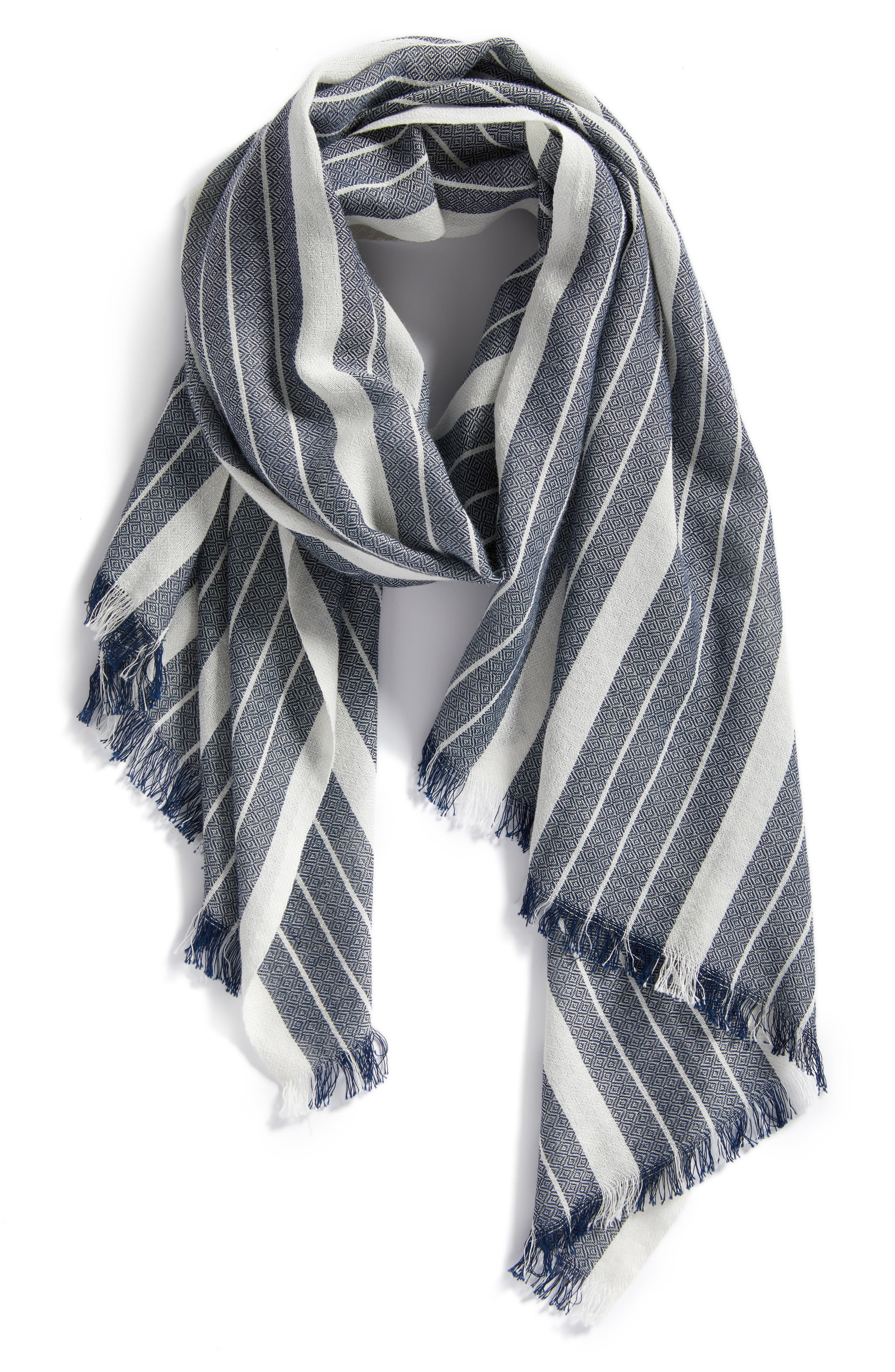 Stripe Organic Cotton & Wool Scarf,                             Alternate thumbnail 2, color,                             480