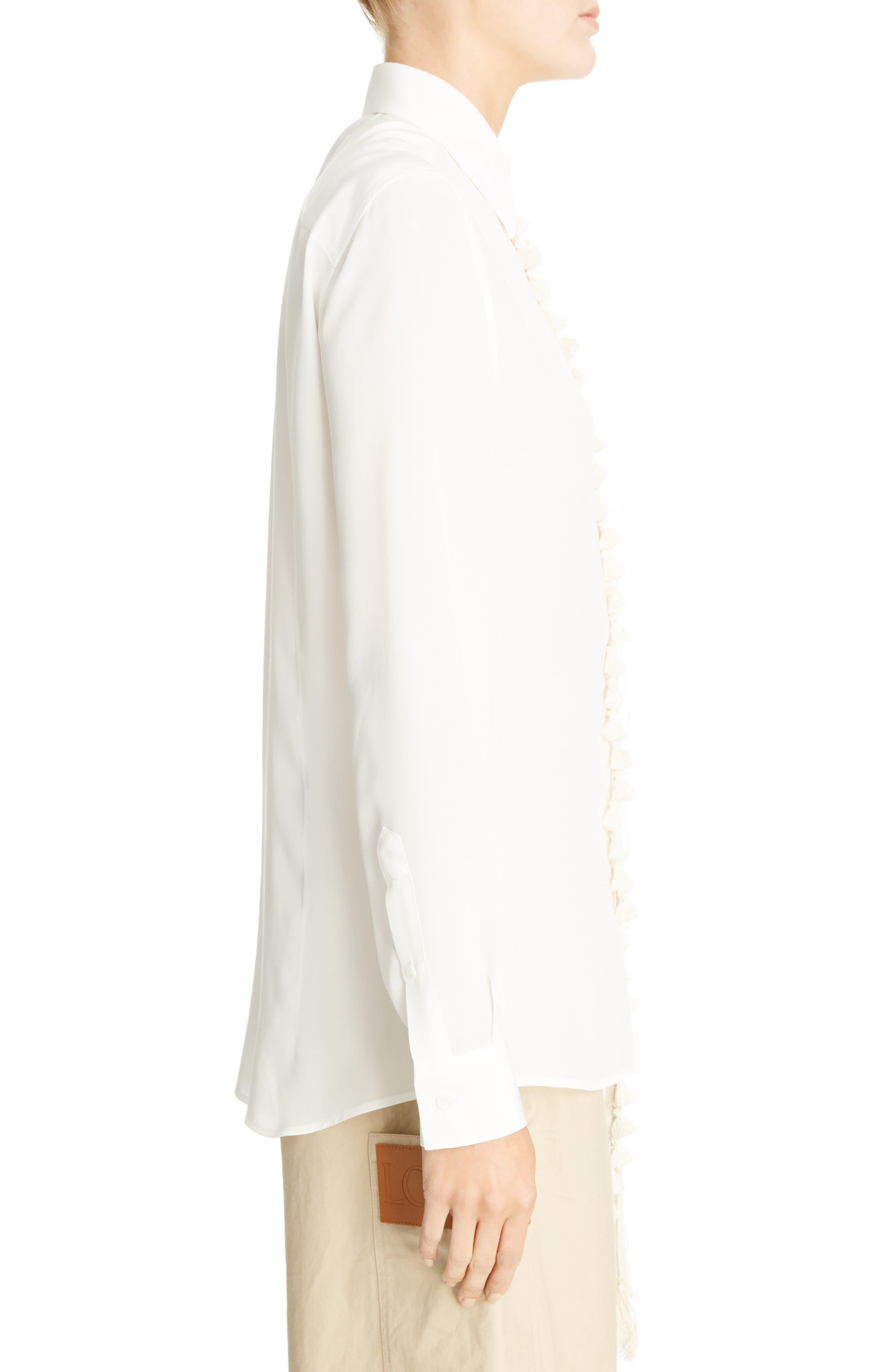 Tassel Placket Silk Shirt,                             Alternate thumbnail 3, color,                             100