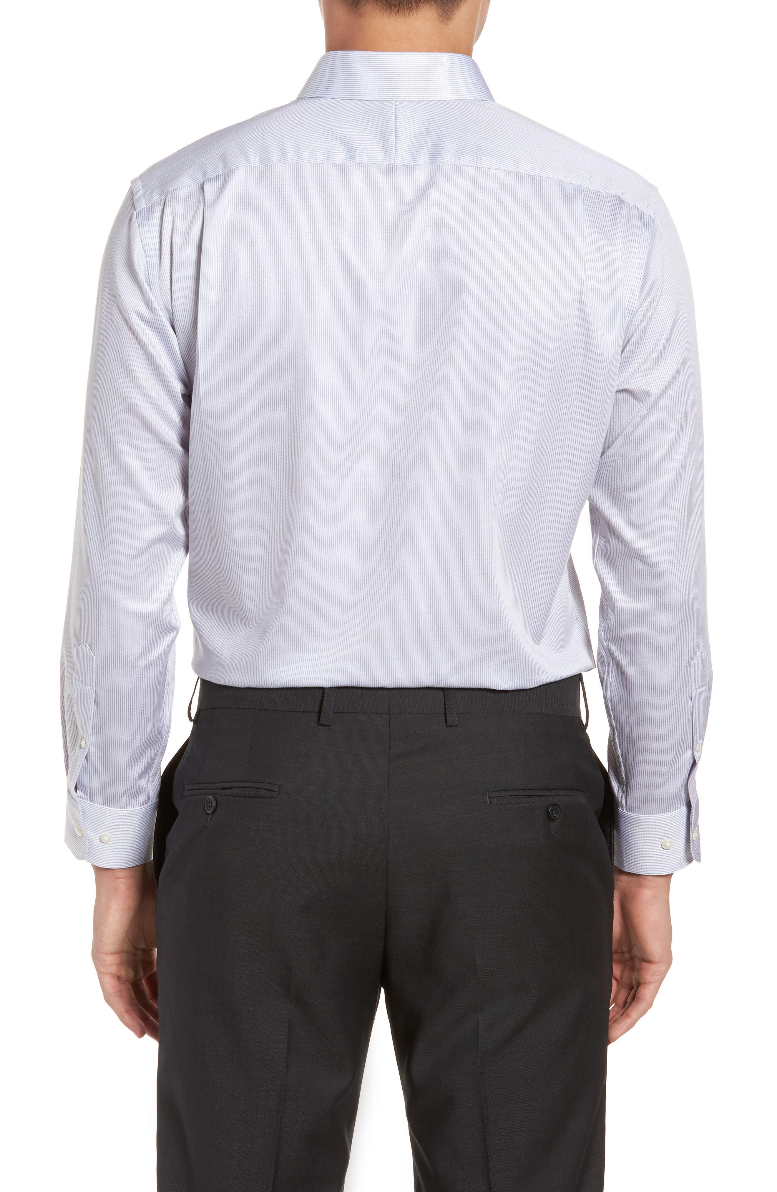 Trim Fit Stripe Dress Shirt,                             Alternate thumbnail 7, color,