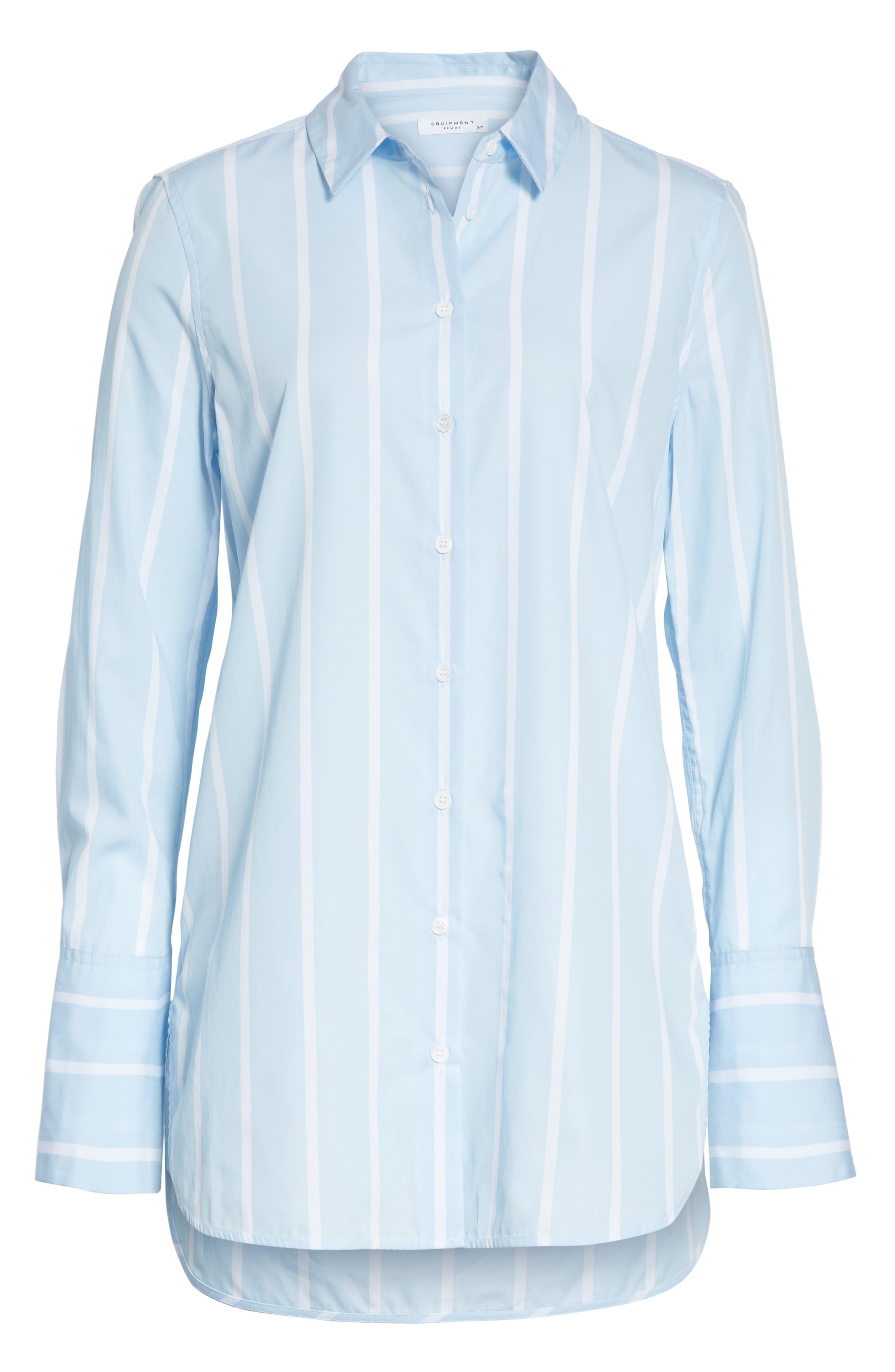 Arlette Stripe Cotton Shirt,                             Alternate thumbnail 6, color,                             498