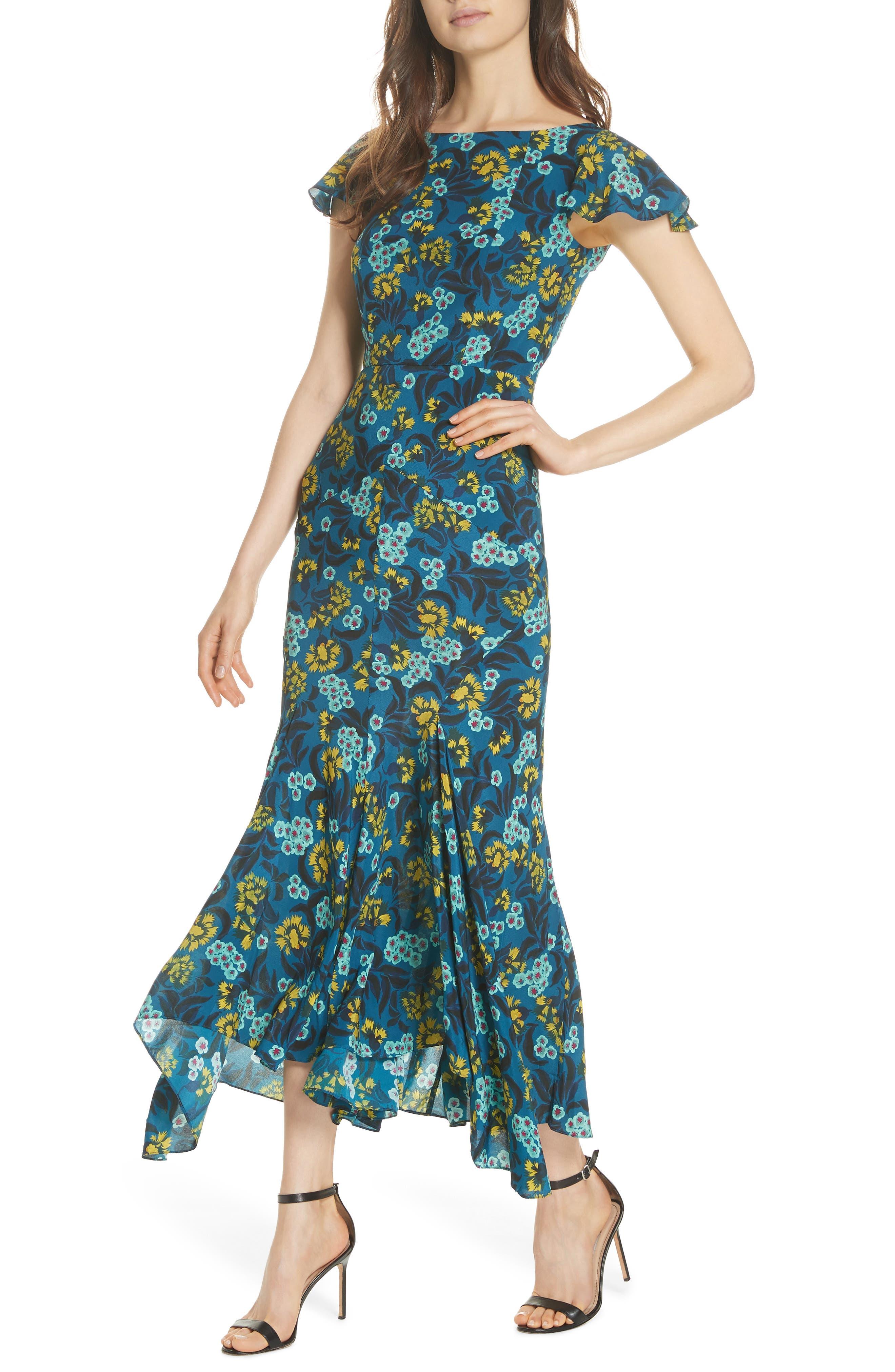 Daphne Floral Print Dress,                             Alternate thumbnail 4, color,                             TEAL AZALEA