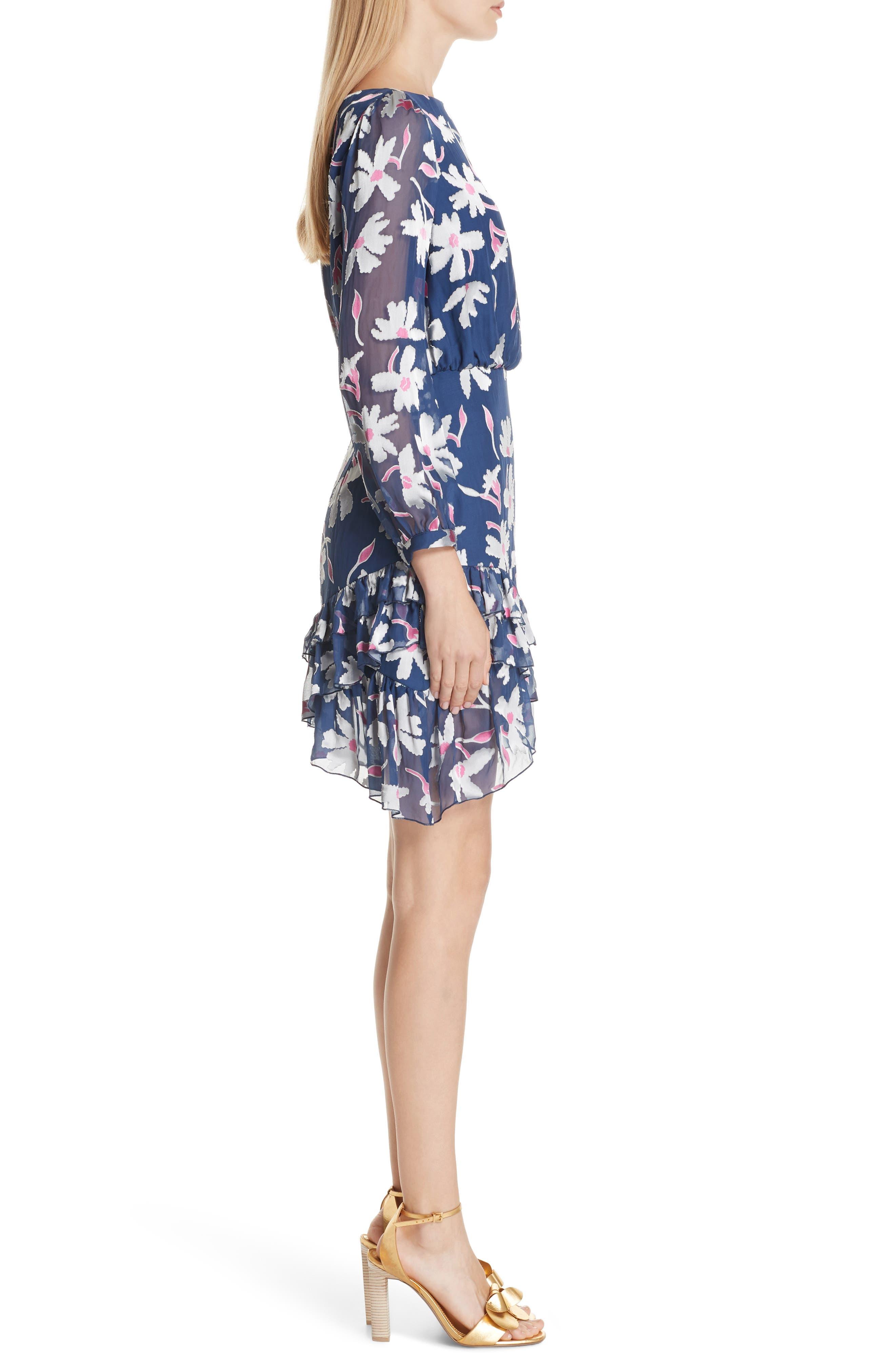 Felicia Asymmetrical Silk Blend Dress,                             Alternate thumbnail 3, color,                             WATER DAISIES