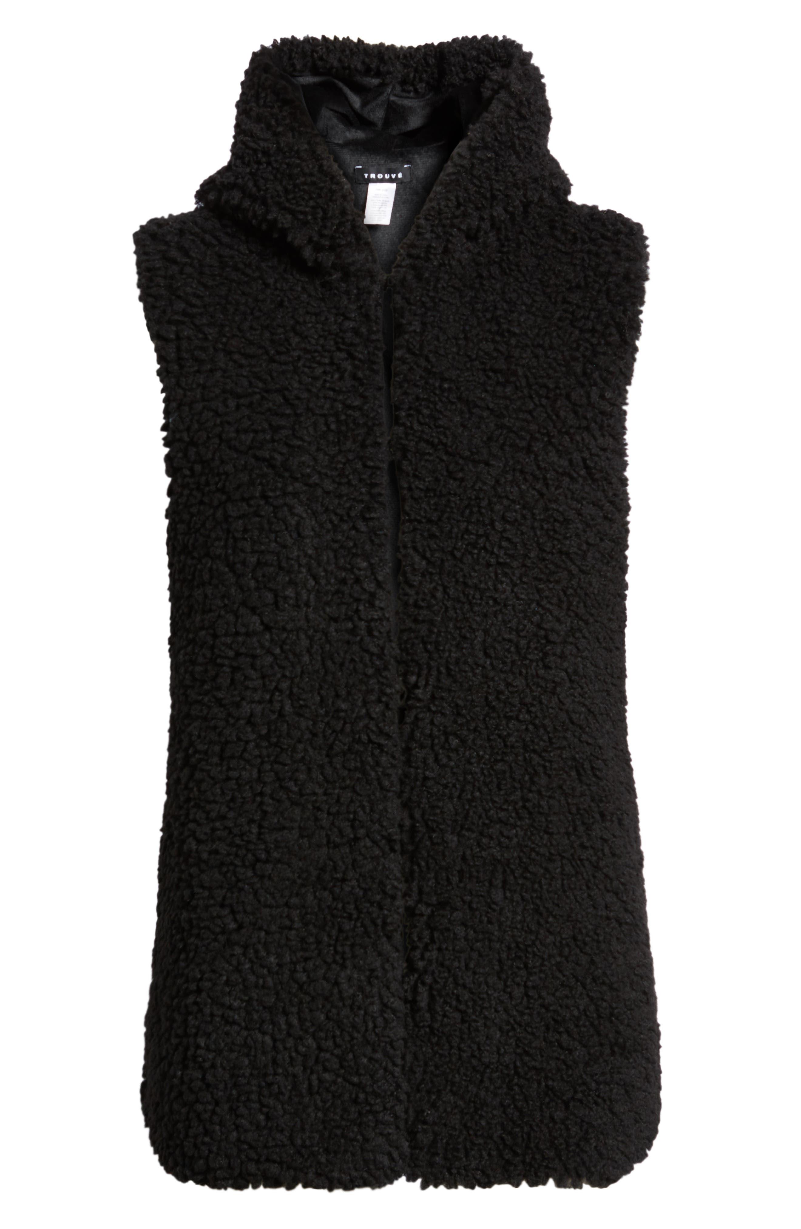 Faux Shearling Hooded Vest,                             Alternate thumbnail 6, color,                             BLACK