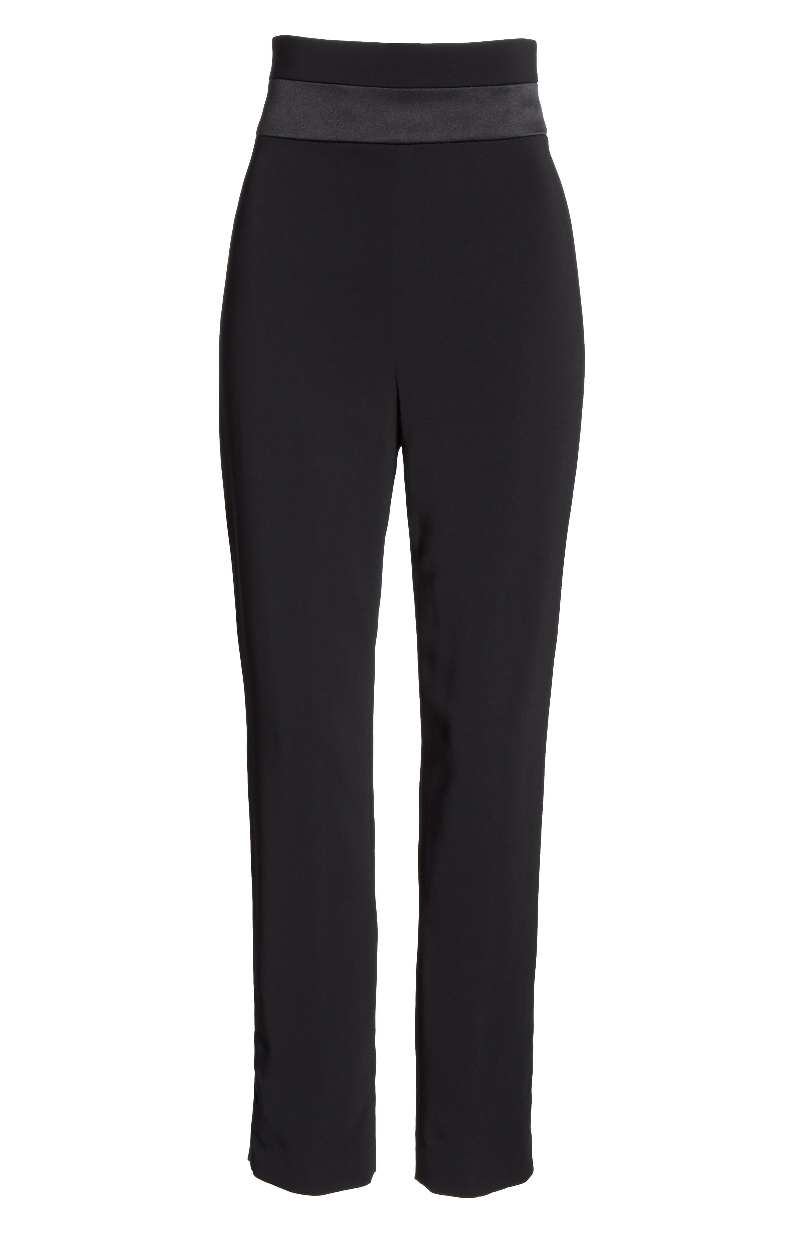CUSHNIE,                             High Waist Crop Slim Pants,                             Alternate thumbnail 6, color,                             BLACK