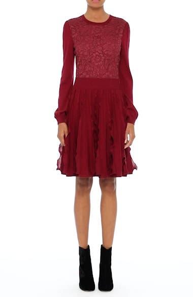 Guipure Lace & Wool Knit Dress, video thumbnail
