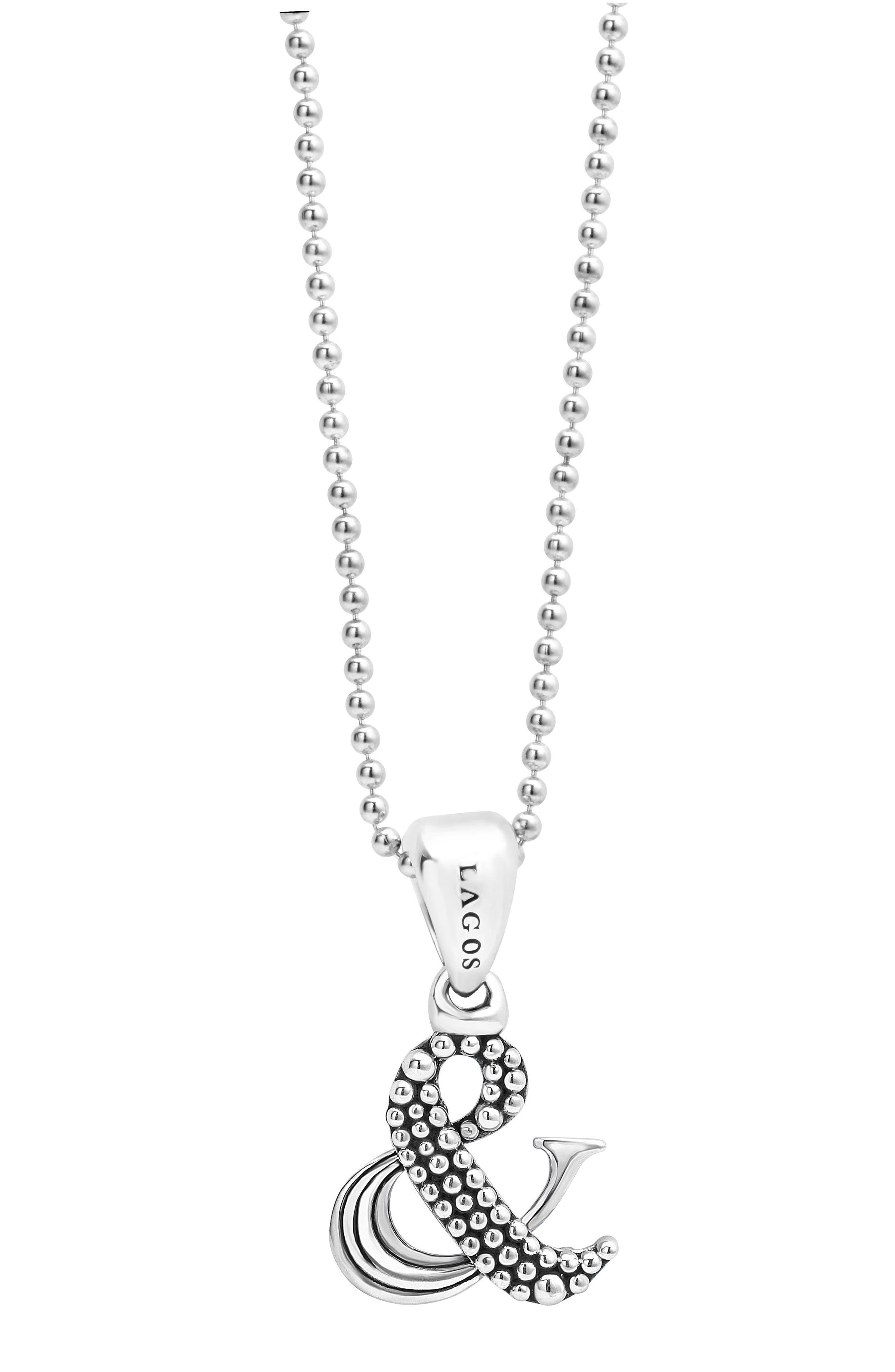 'Beloved' Ampersand Pendant Necklace,                             Alternate thumbnail 3, color,                             STERLING SILVER