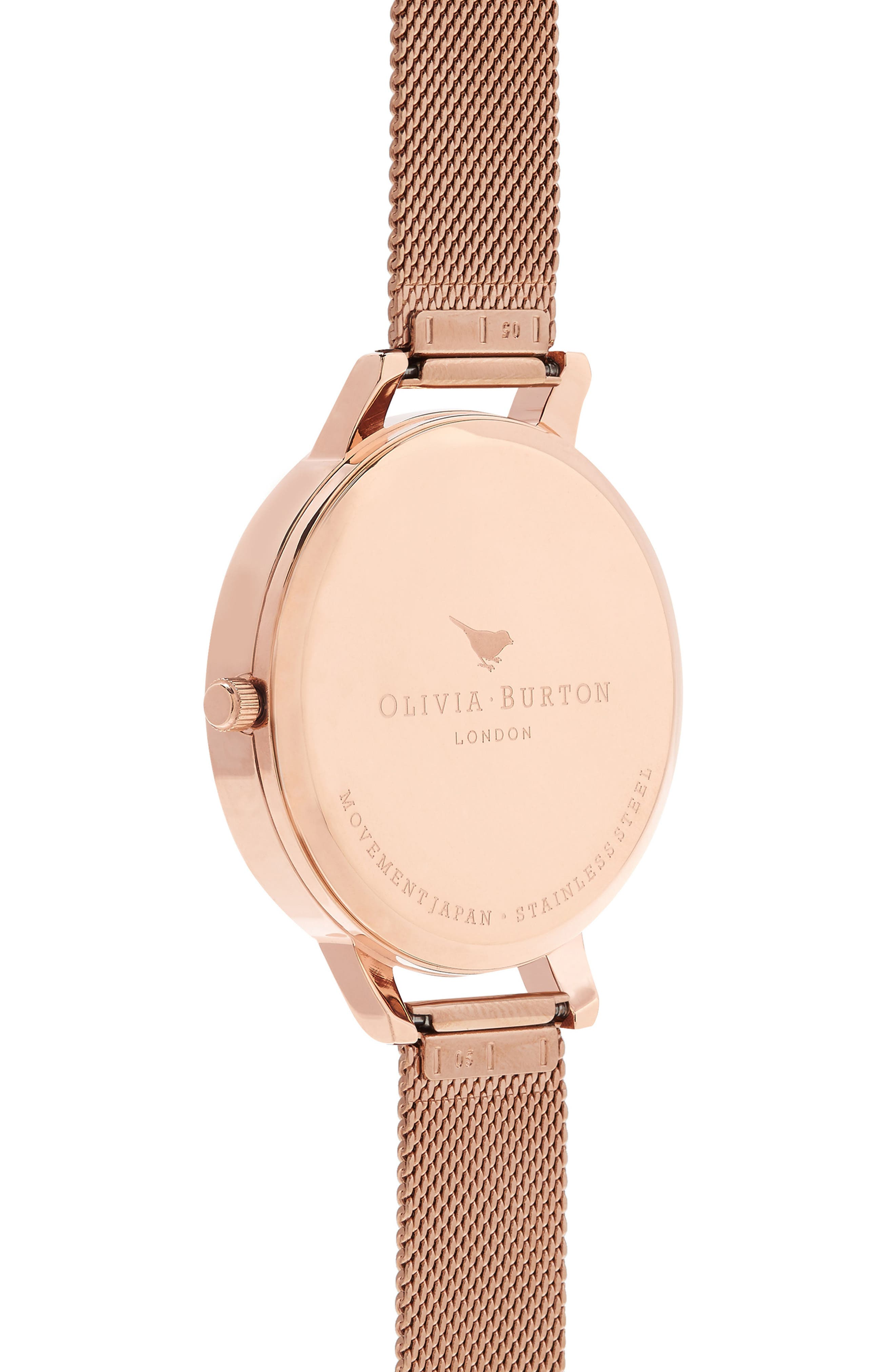 Case Cuff Mesh Strap Watch, 38mm,                             Alternate thumbnail 2, color,                             ROSE GOLD/ FLORAL/ ROSE GOLD