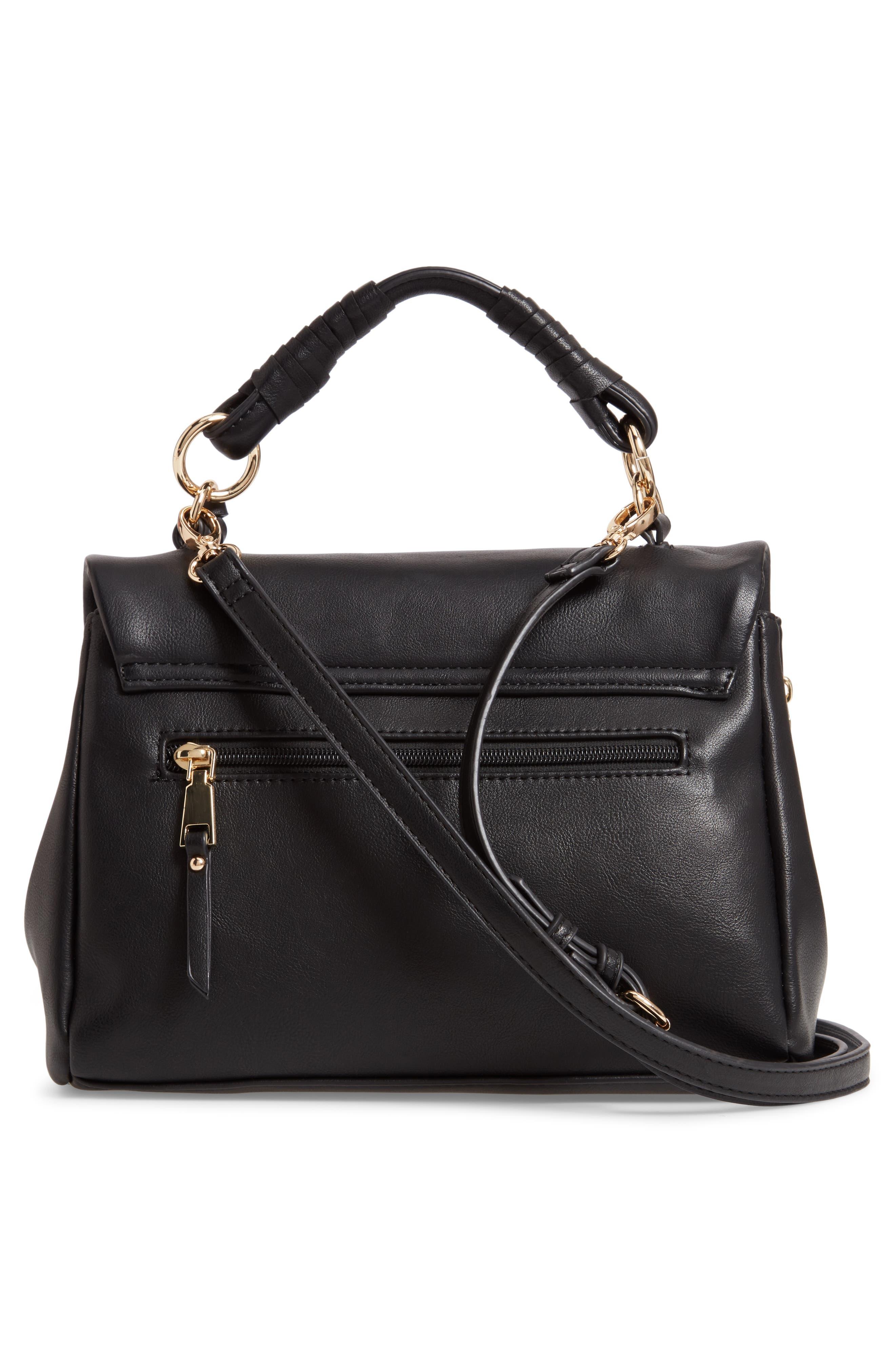 Rubie Faux Leather Crossbody Bag,                             Alternate thumbnail 3, color,                             BLACK