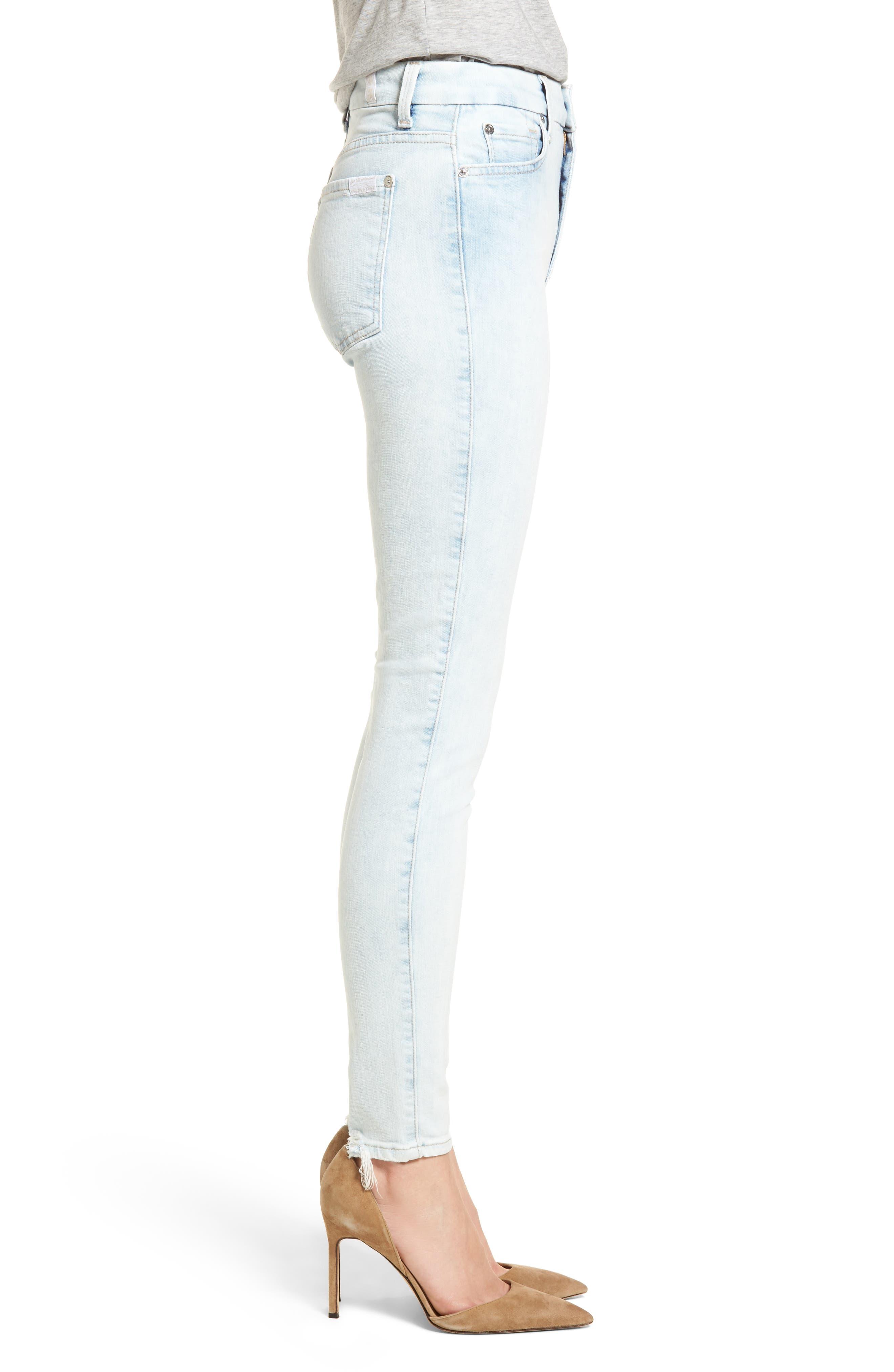 High Waist Ankle Skinny Jeans,                             Alternate thumbnail 3, color,                             401