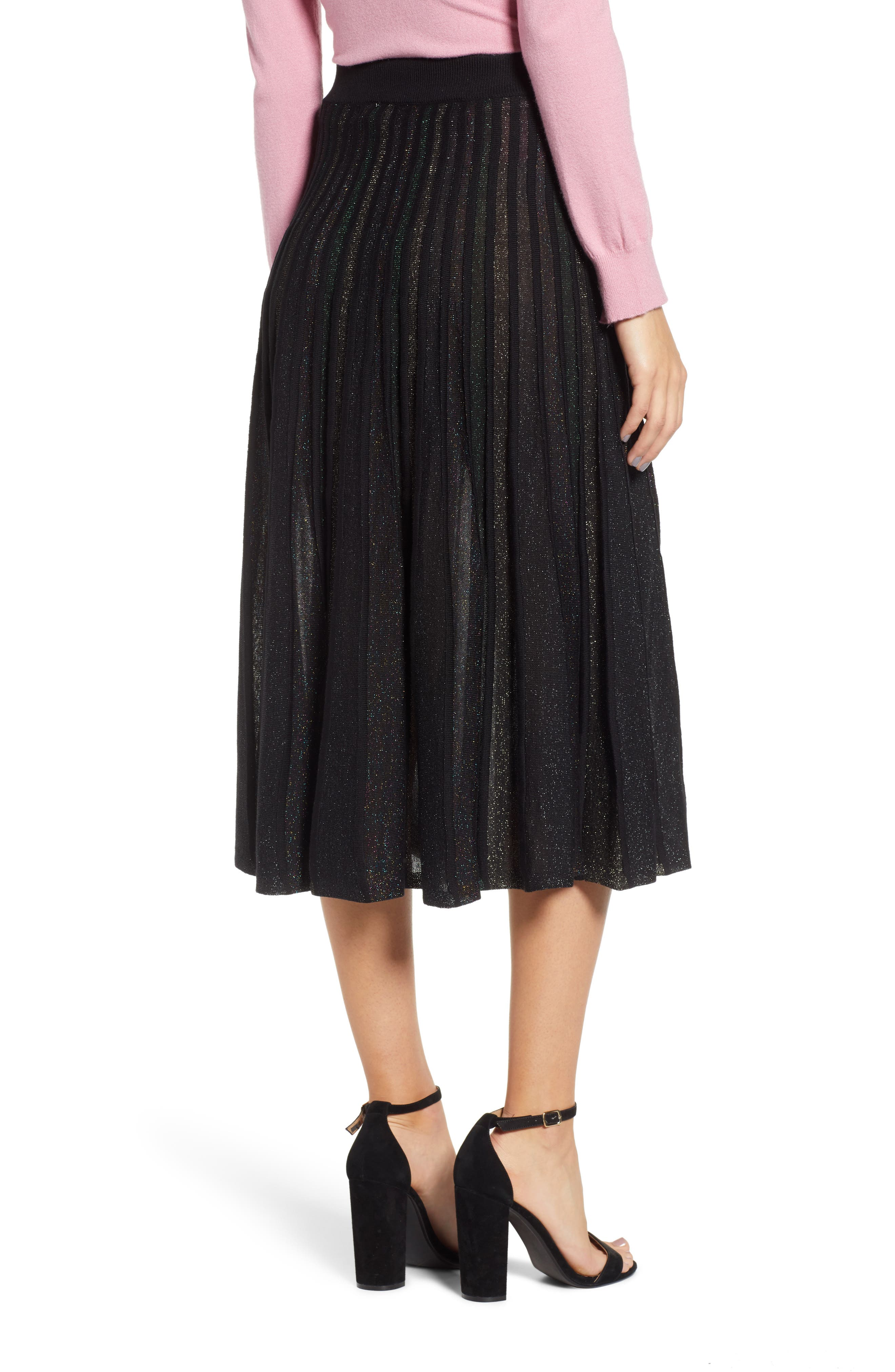 Sparkle Pleated Midi Skirt,                             Alternate thumbnail 2, color,                             MULTI STRIPE