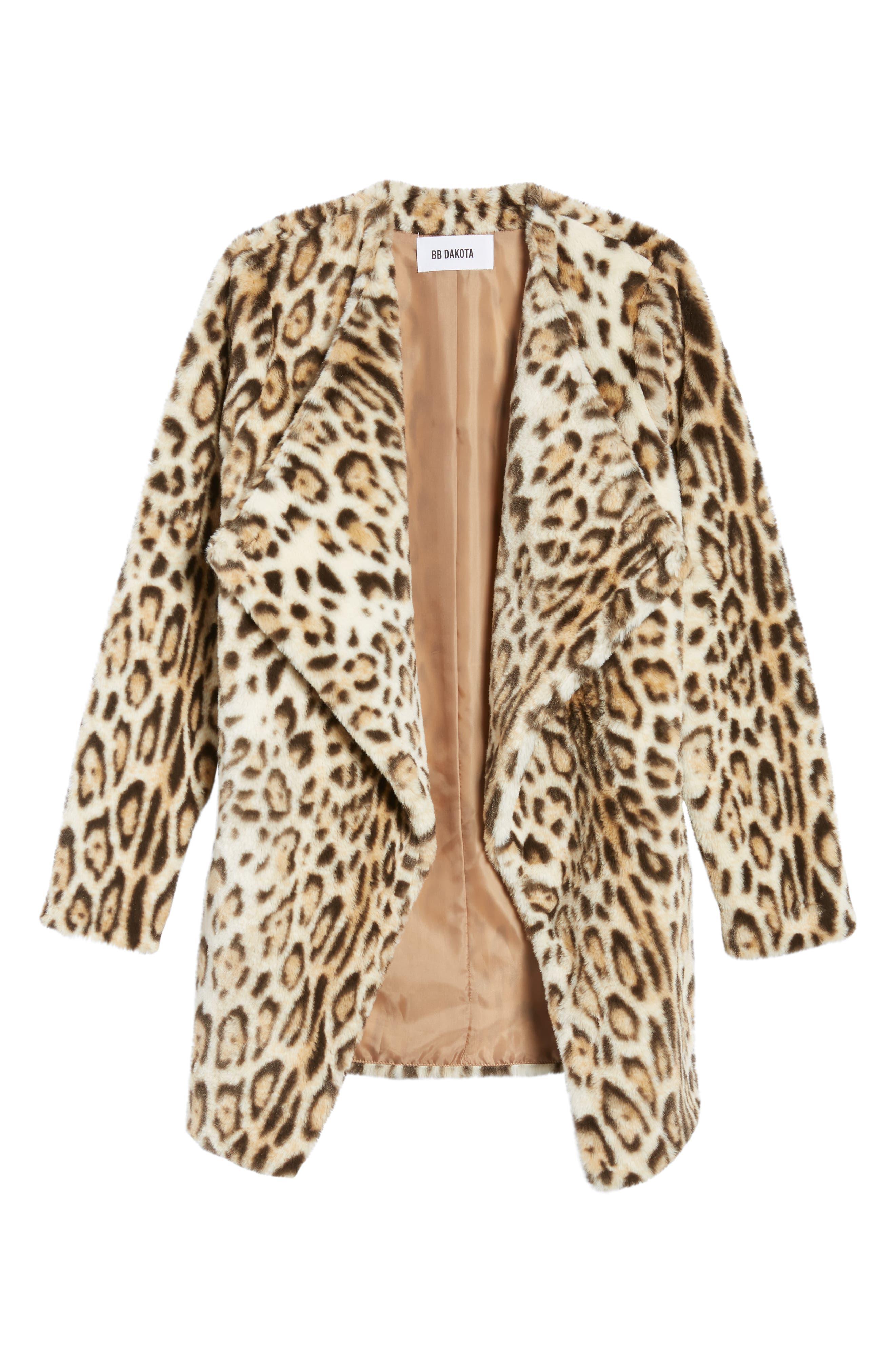 Leopard Faux Fur Jacket,                             Alternate thumbnail 5, color,                             210