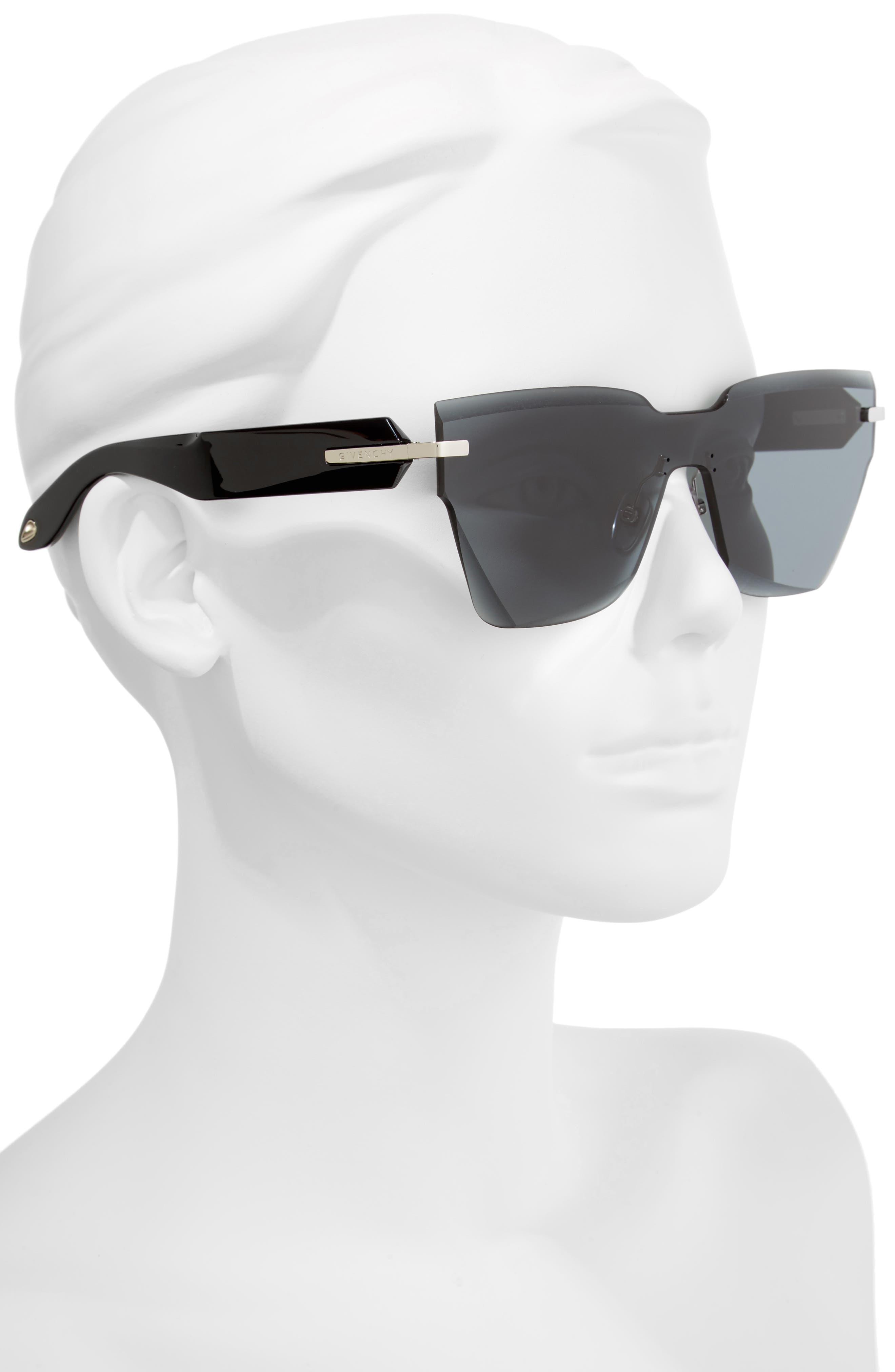 55mm Rimless Shield Sunglasses,                             Alternate thumbnail 2, color,                             GREY BLACK