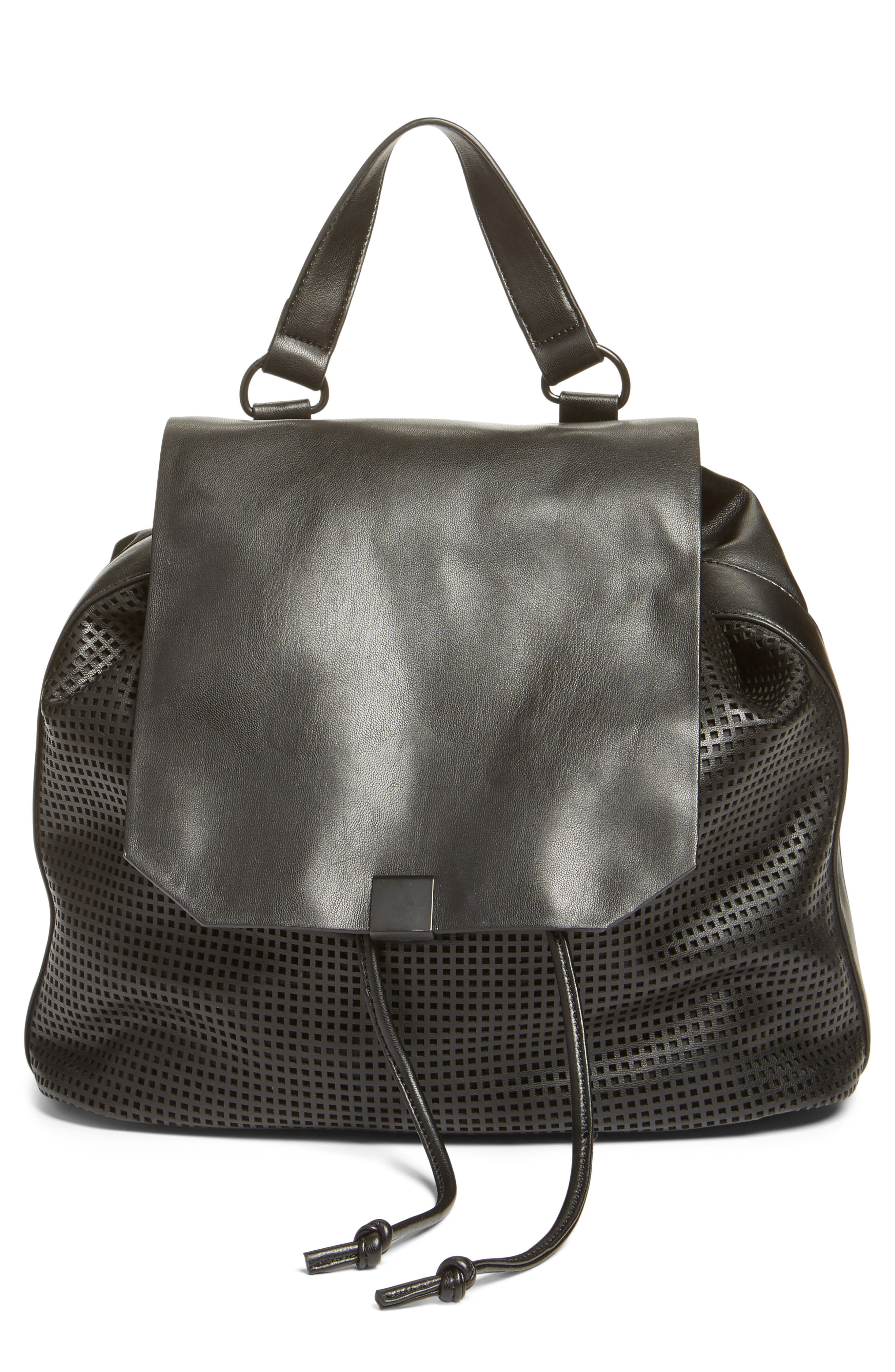 Perforated Faux Leather Backpack,                             Alternate thumbnail 2, color,                             001