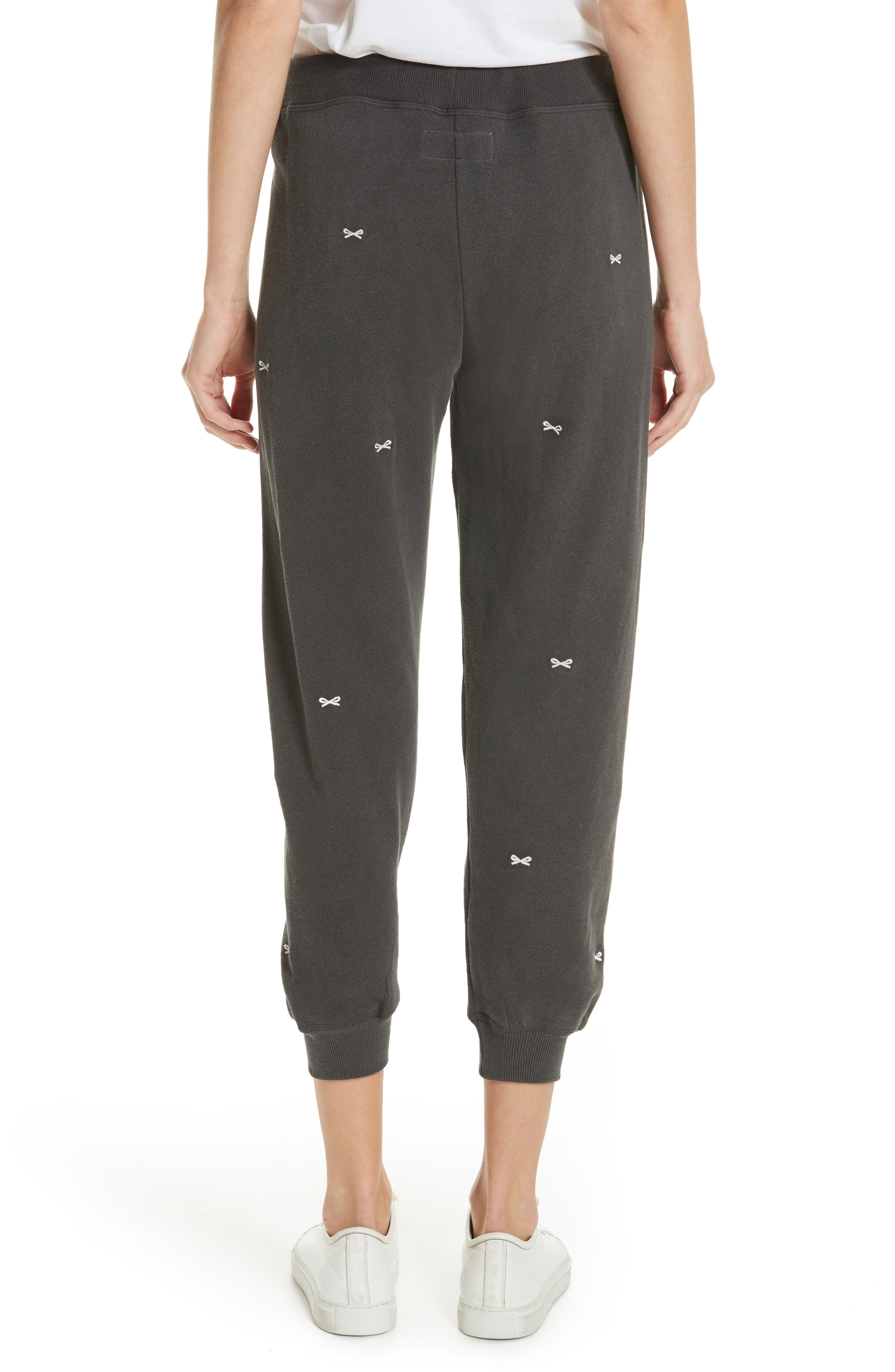 The Cropped Sweatpants,                             Alternate thumbnail 2, color,                             WASHED BLACK/ WHITE