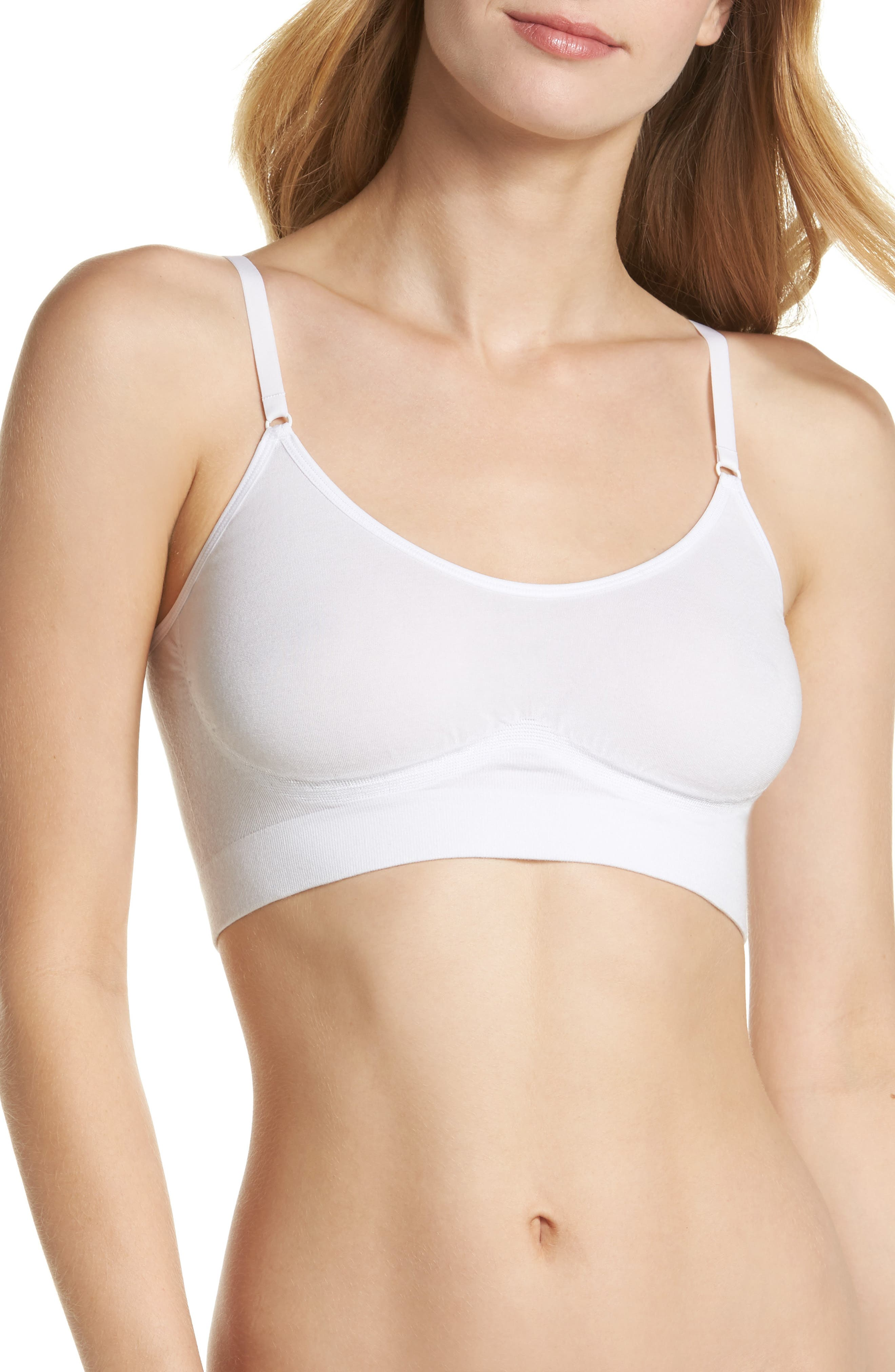 YUMMIE Convertible Scoop Neck Bralette, Main, color, WHITE