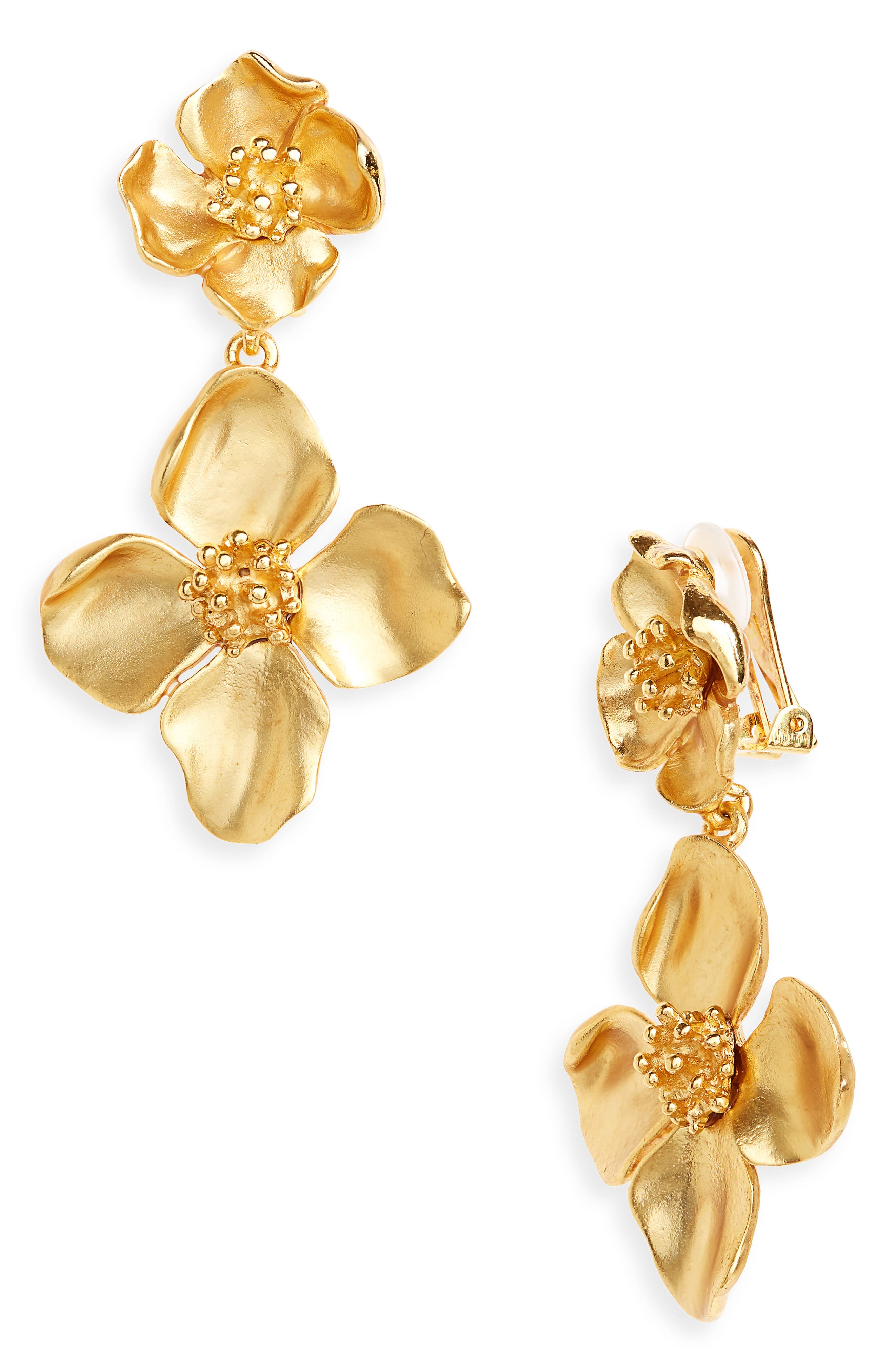 Flower Drop Clip-on Earrings, Main, color, GOLD