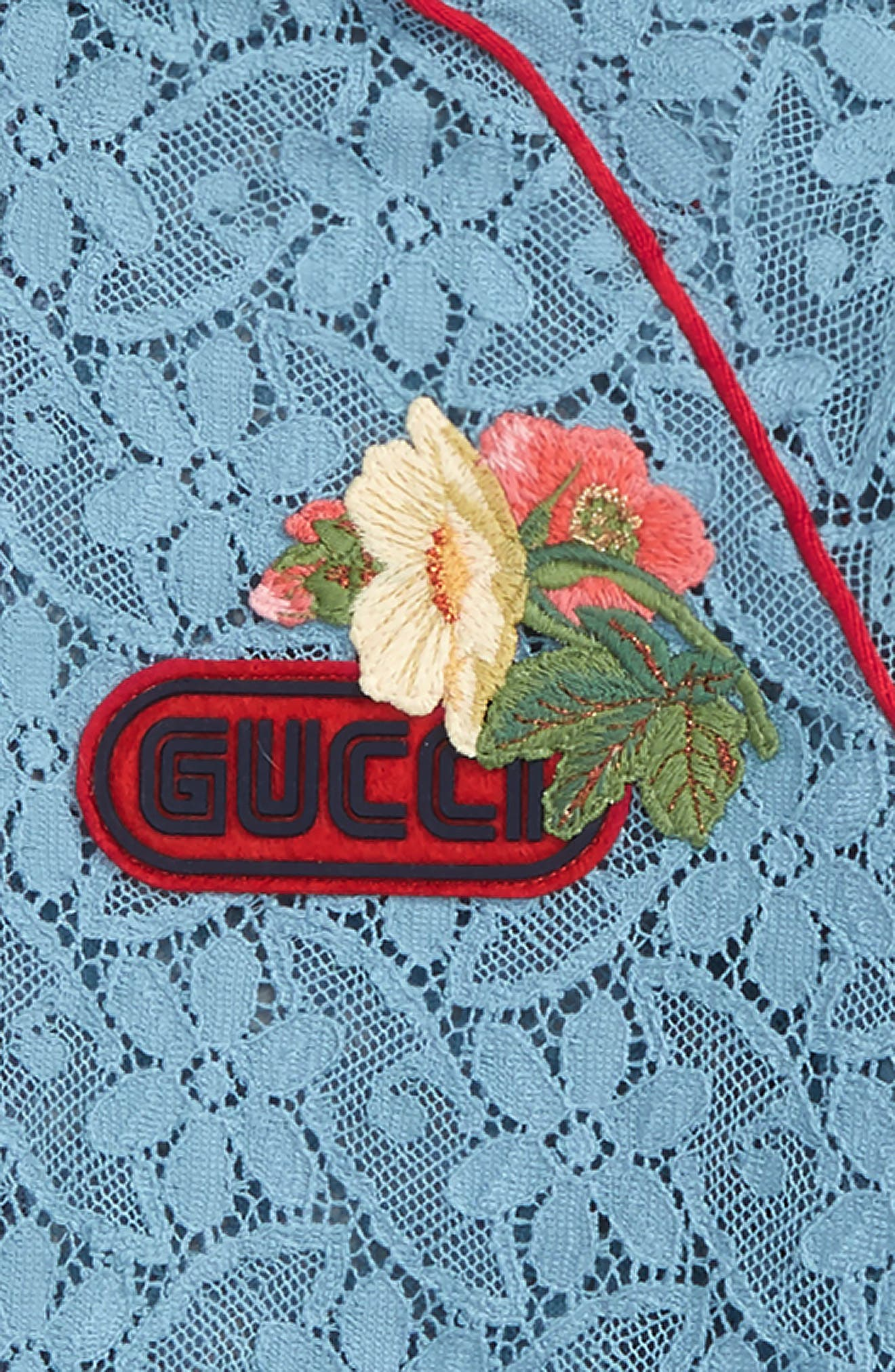 GUCCI,                             Lace Bomber Jacket,                             Alternate thumbnail 2, color,                             SEA CLEAR BLUE