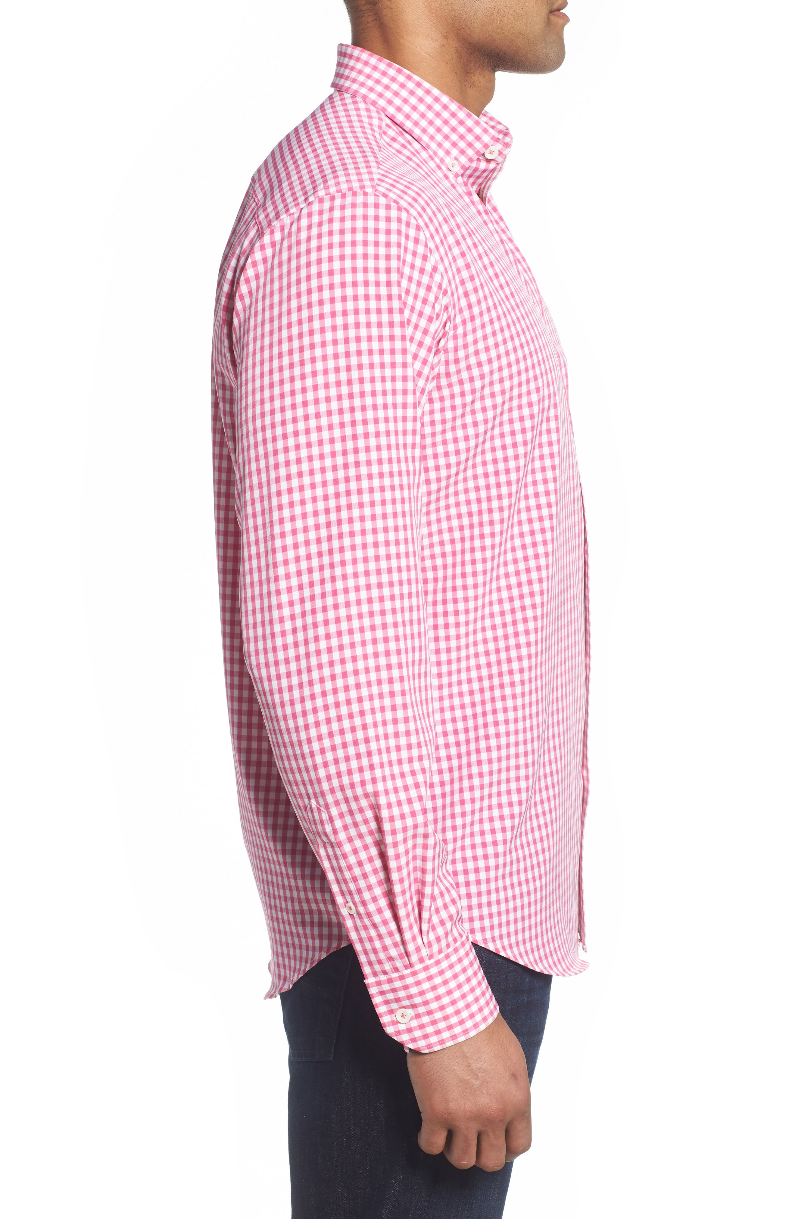 Classic Fit Gingham Performance Sport Shirt,                             Alternate thumbnail 3, color,                             PINK