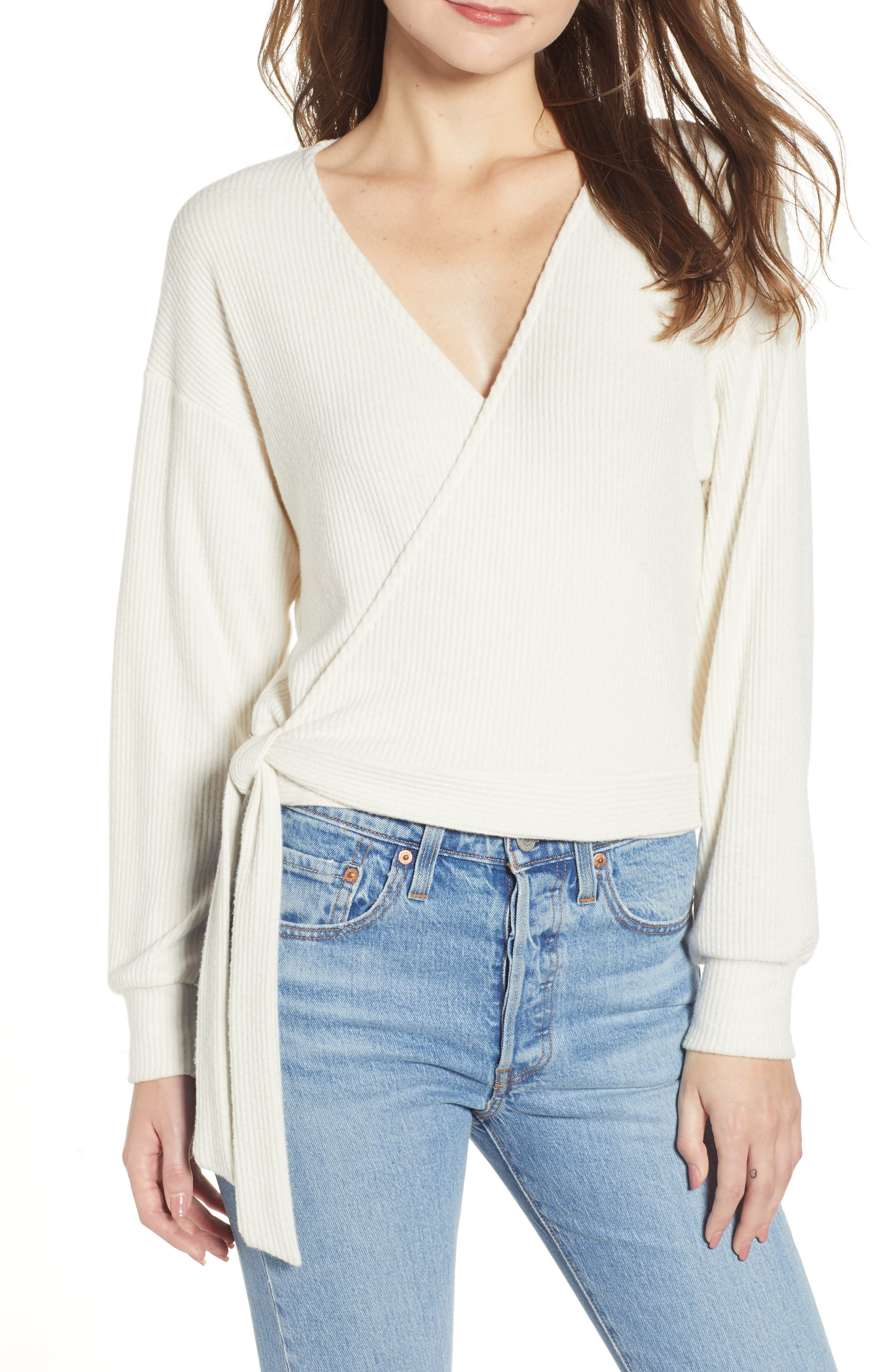 PROJECT SOCIAL T Ramone Ribbed Top in Ivory