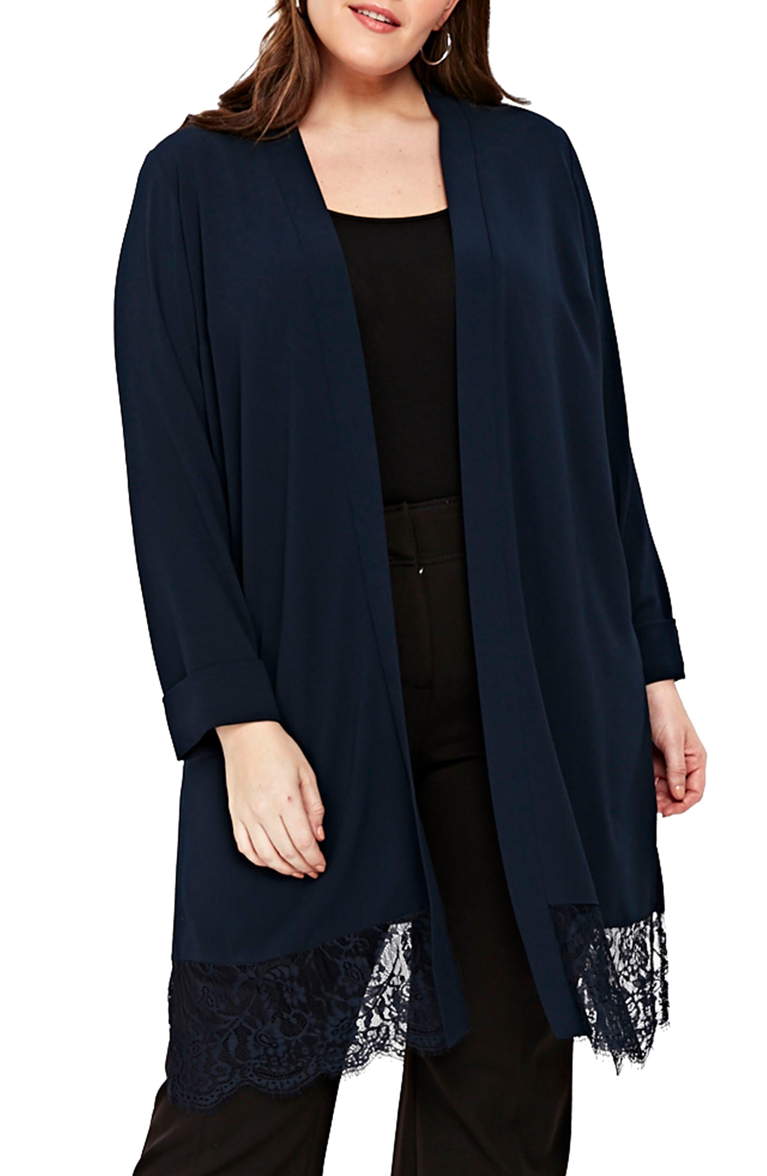 Lace Trim Kimono Jacket,                         Main,                         color, NAVY