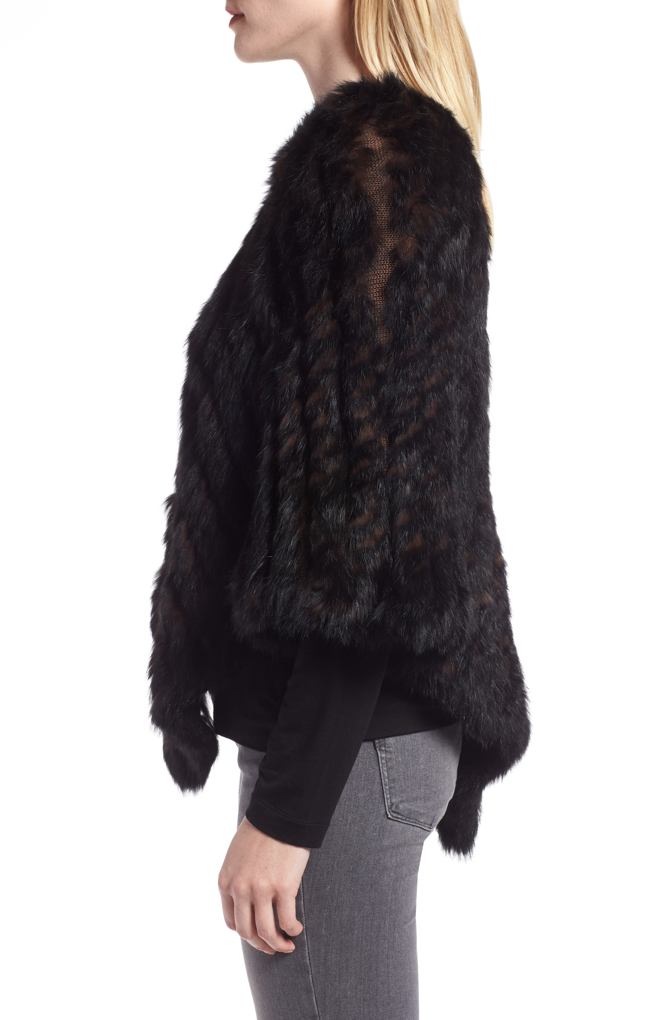 Genuine Rabbit Fur Poncho,                             Alternate thumbnail 3, color,                             BROWN