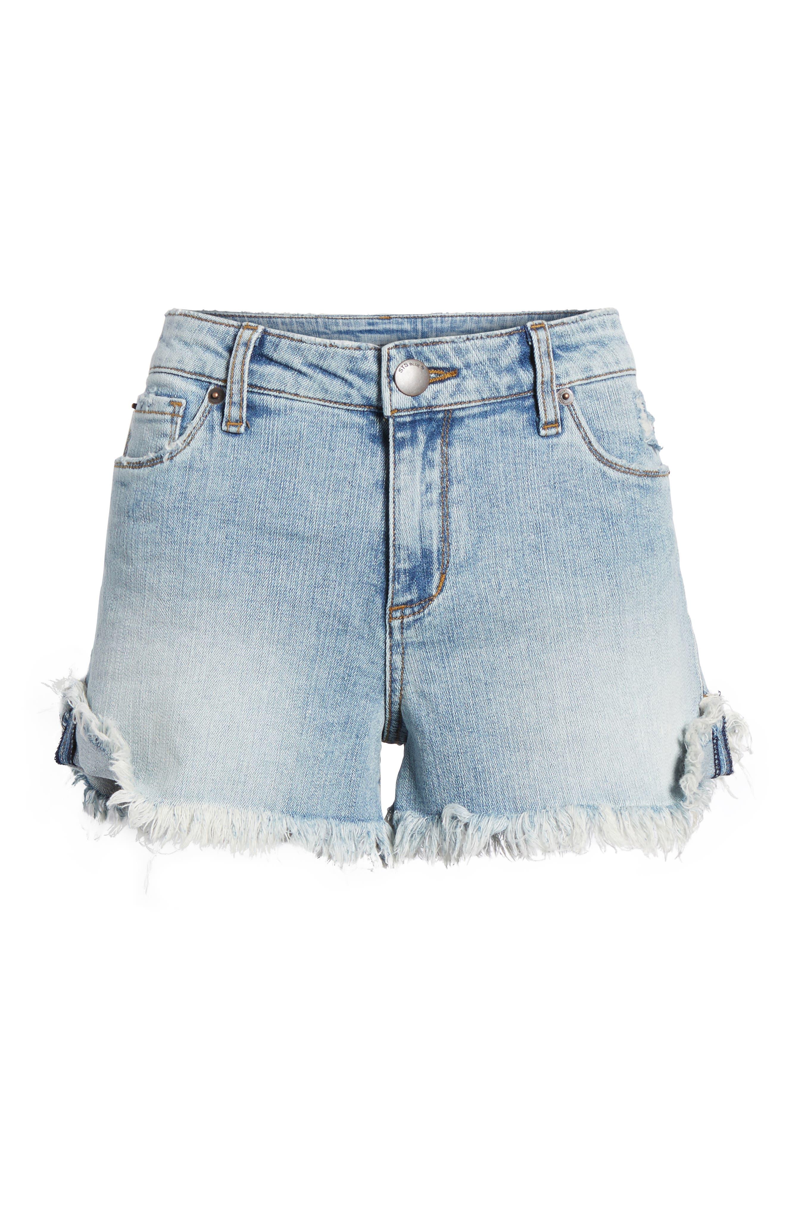 Fray Hem Denim Boyfriend Shorts,                             Alternate thumbnail 6, color,