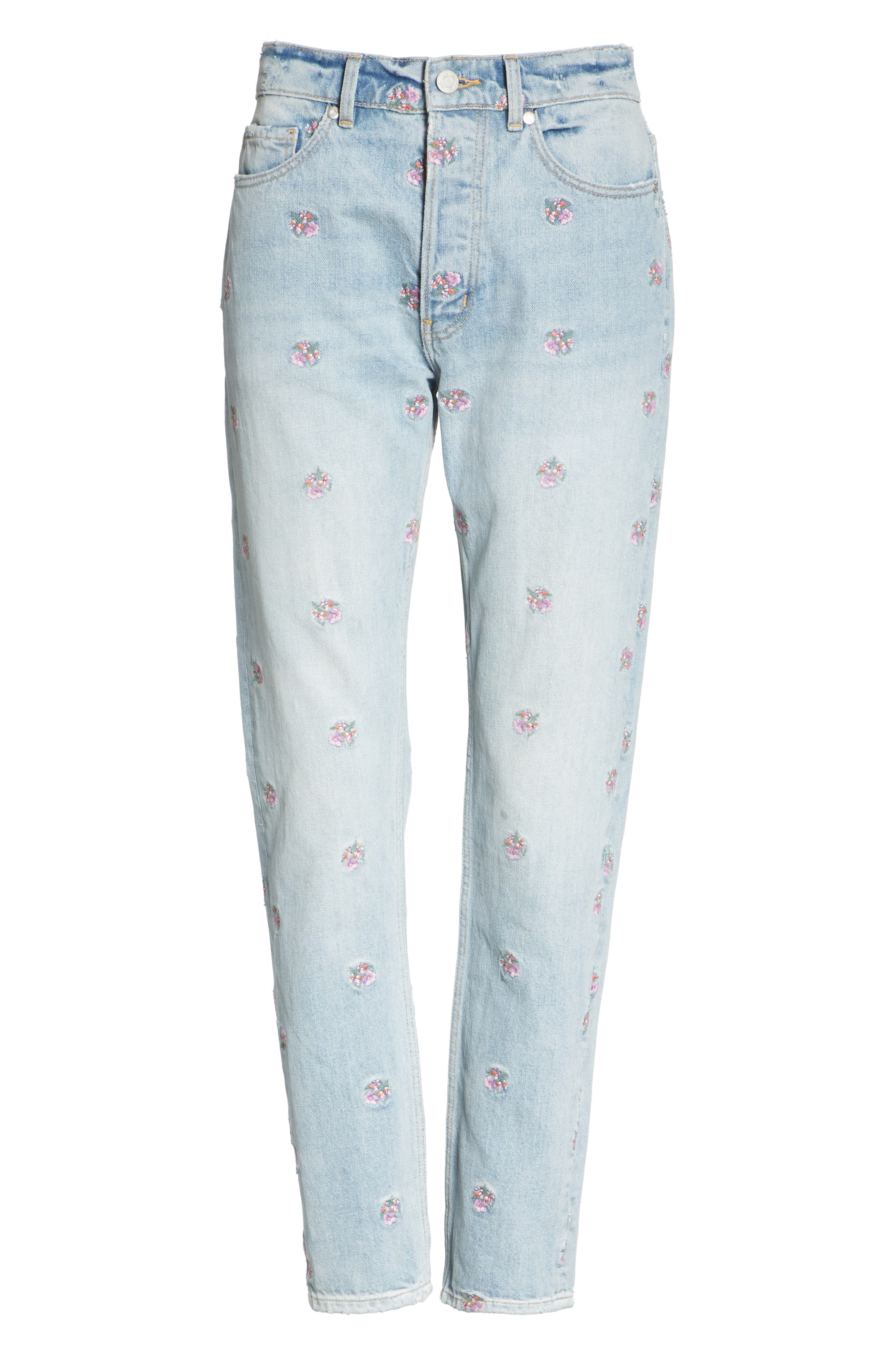 Beatrice Embroidered Crop Straight Leg Jeans,                             Alternate thumbnail 6, color,                             459