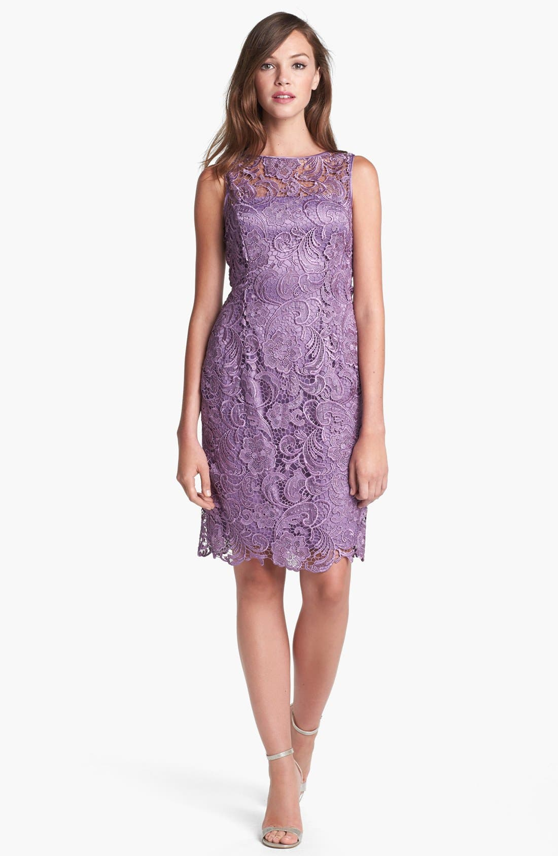 Illusion Bodice Lace Sheath Dress,                             Main thumbnail 9, color,